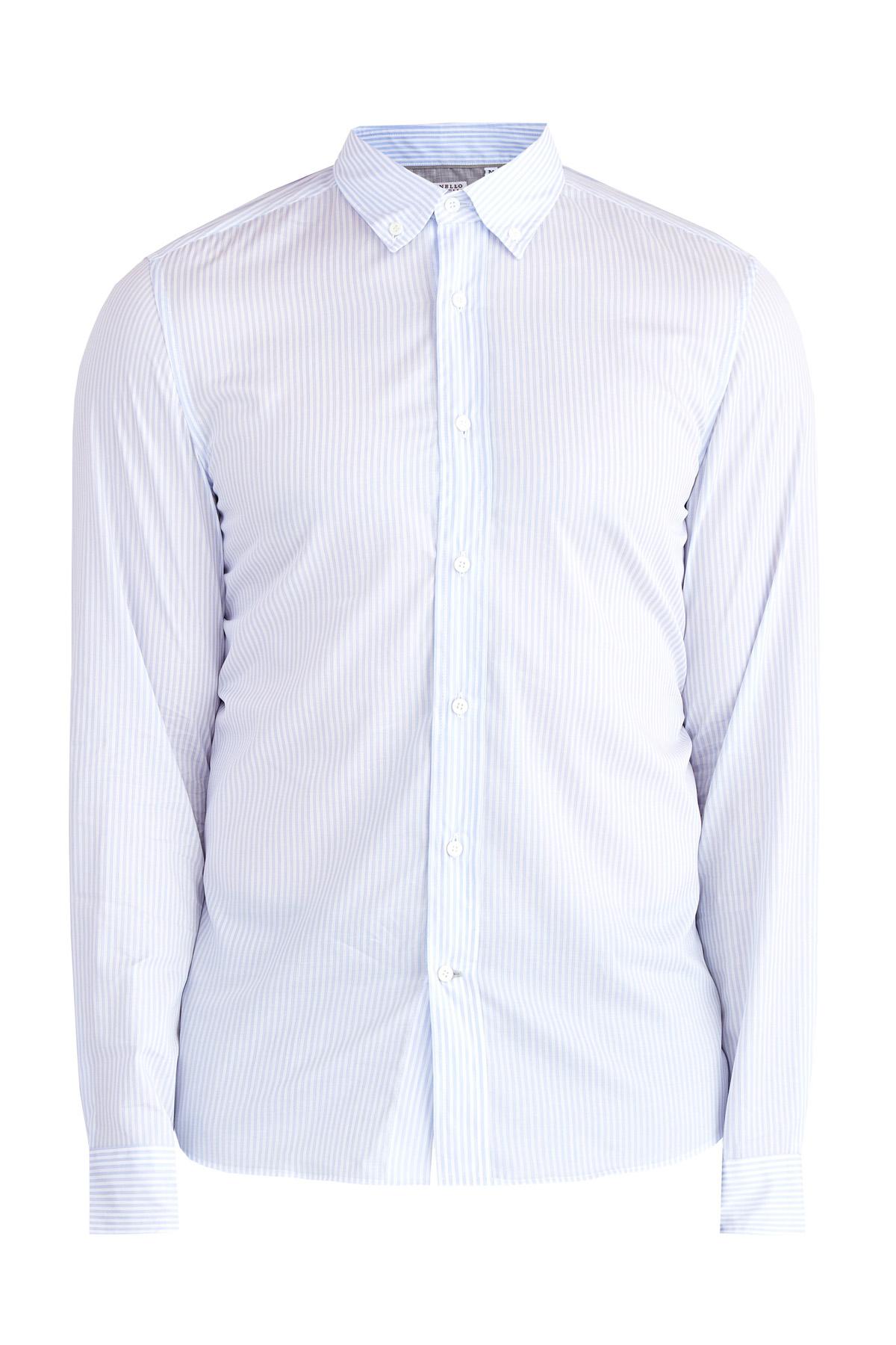 Рубашка в повседневном стиле из хлопка с воротом-стойкой на пуговицах
