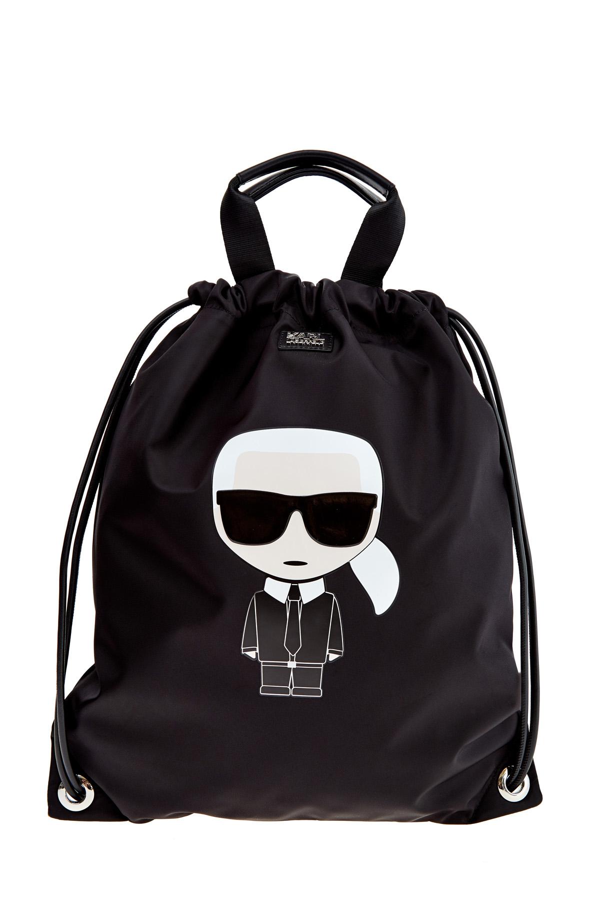 Купить Сумка-рюкзак K/Ikonik из нейлона с макро-аппликацией, KARL LAGERFELD, Италия, полиамид 97%, кожа 3%