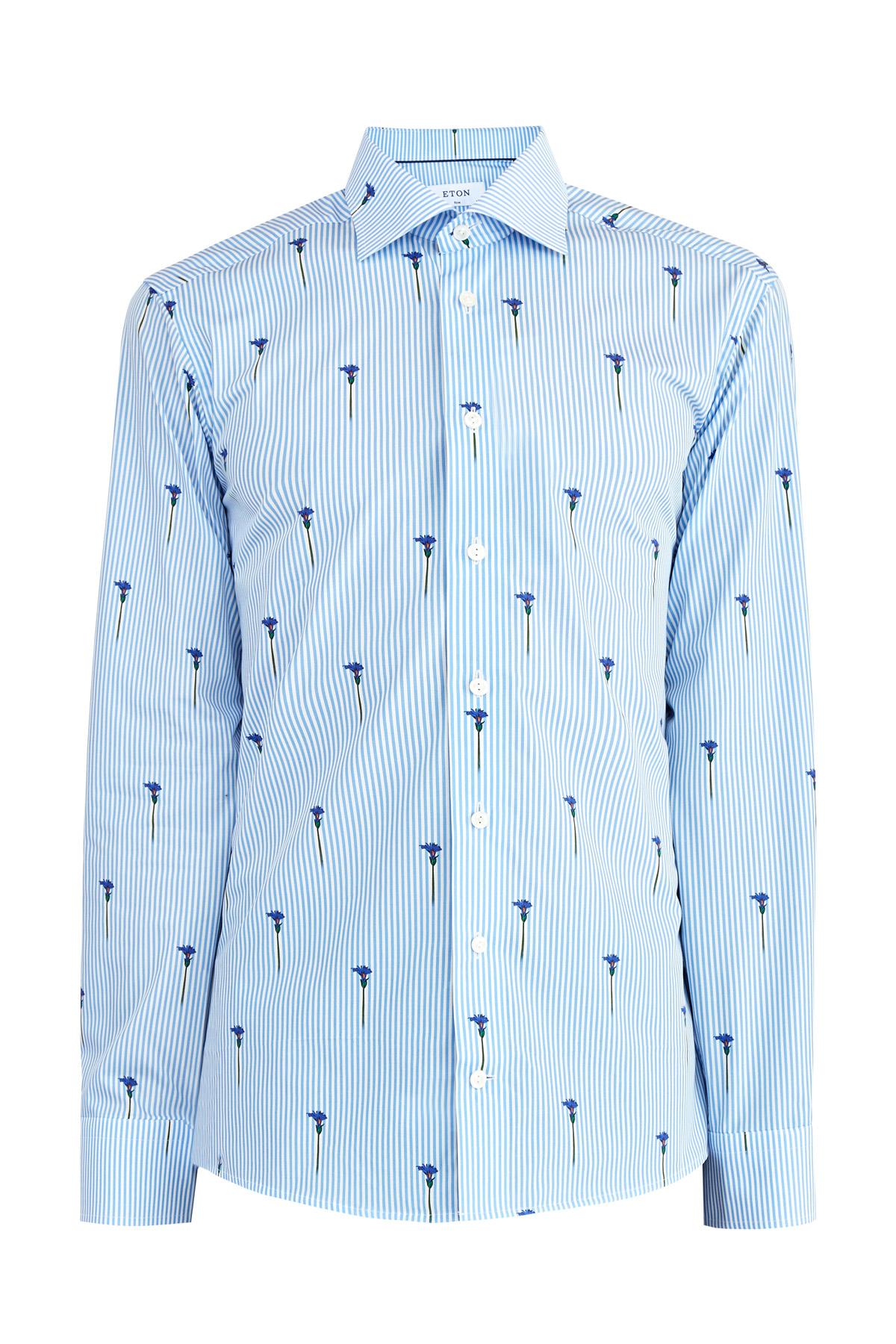 Рубашка силуэта Slim Fit из поплина с ироничным принтом в цветок