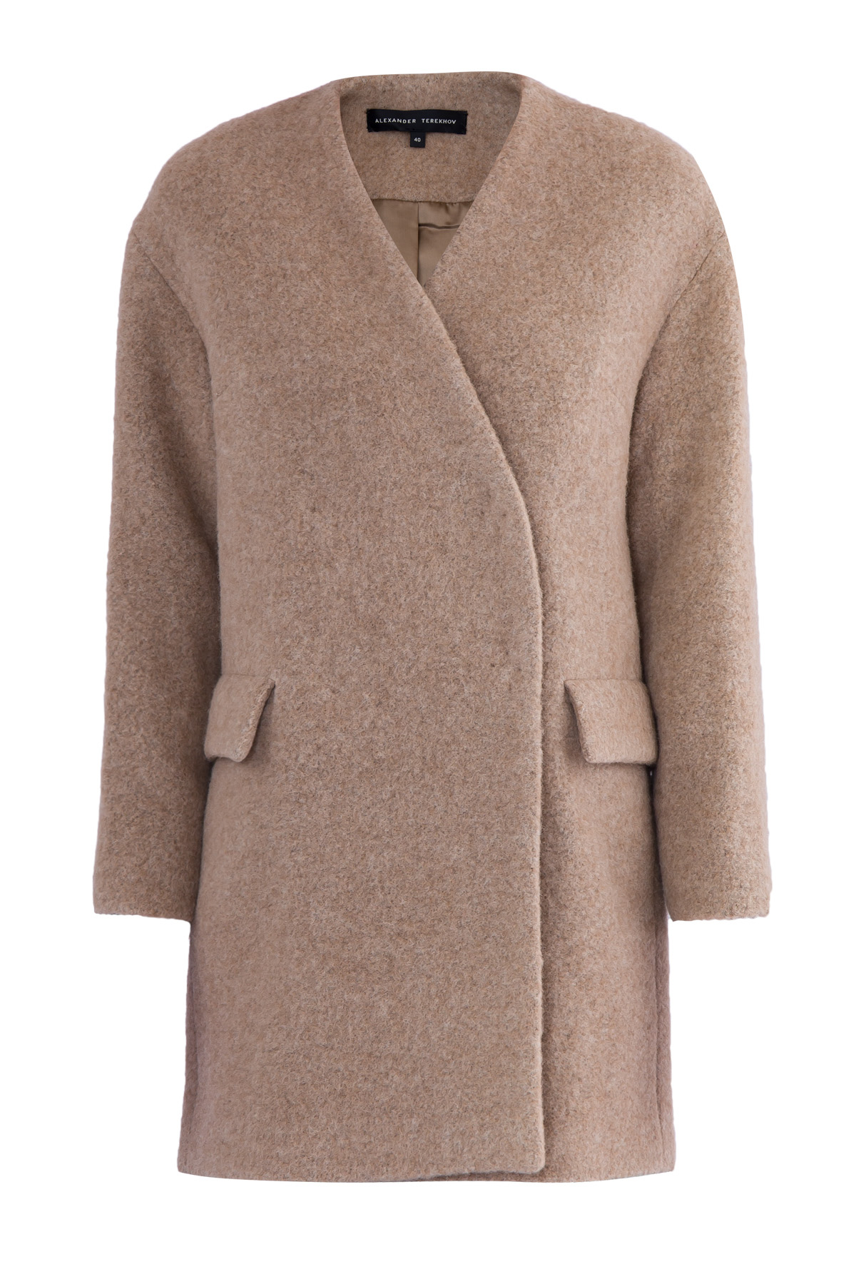 Короткое двубортное пальто из фактурной шерсти альпаки фото