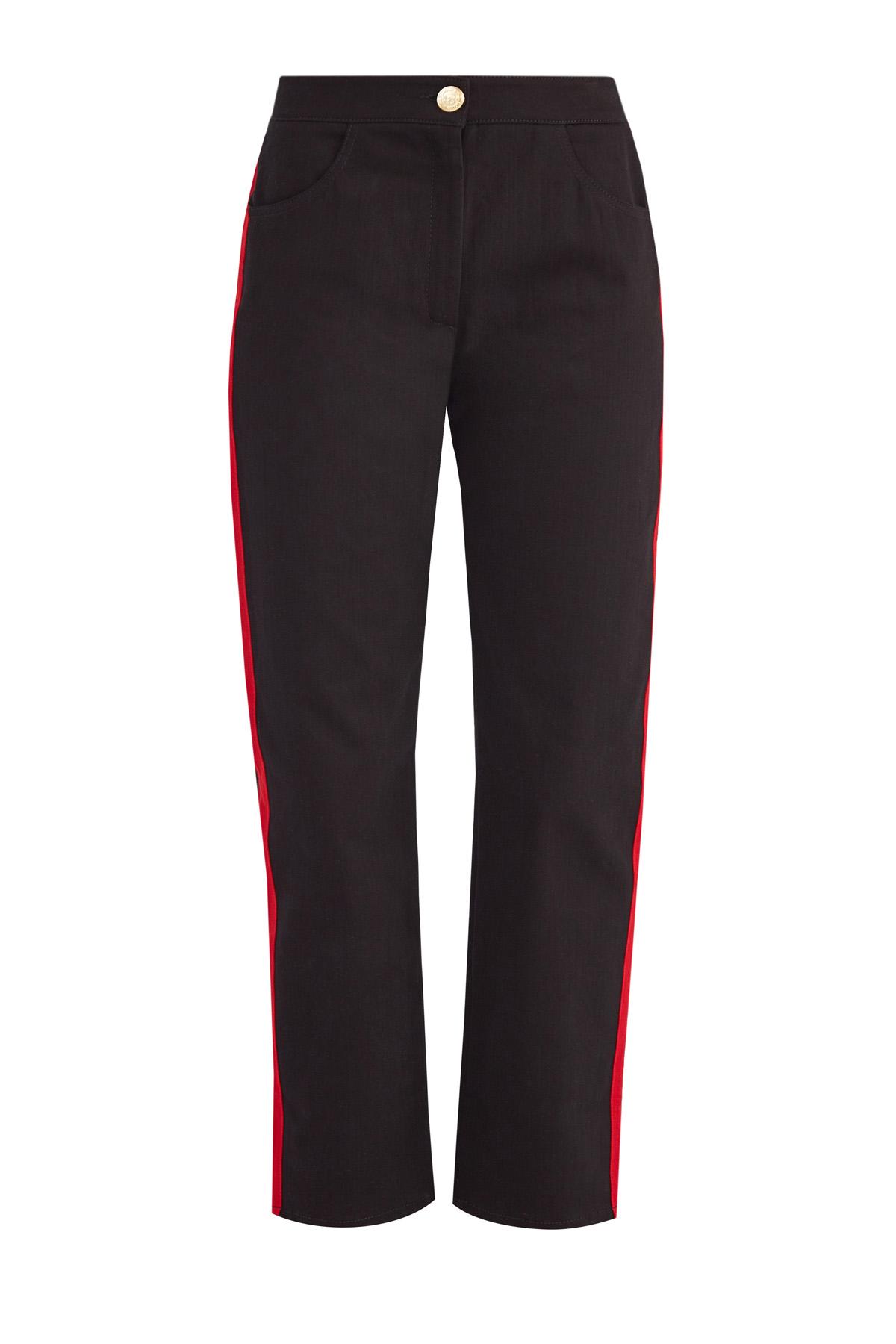 Укороченные джинсы прямого силуэта с контрастными лампасами