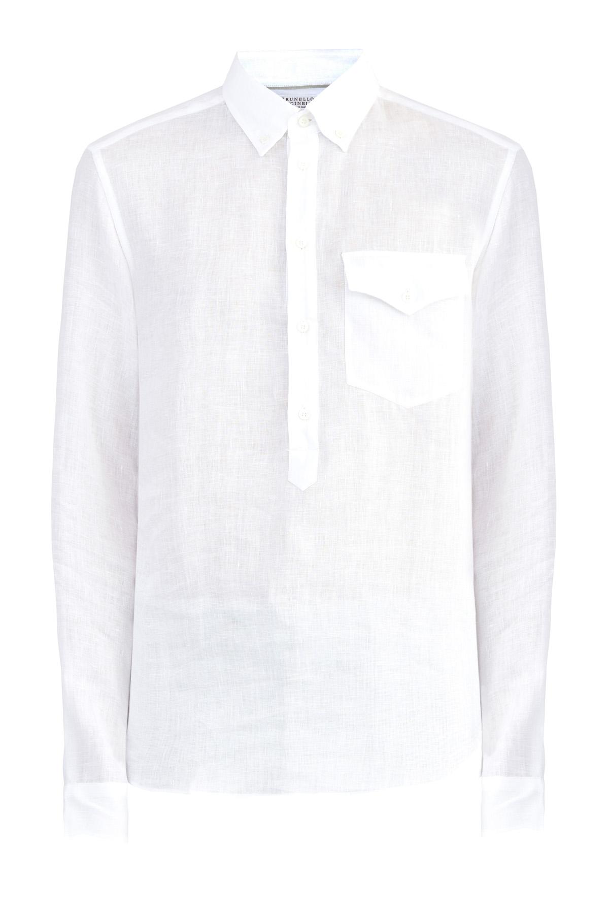 Однотонная рубашка прямого кроя из тонкого льна