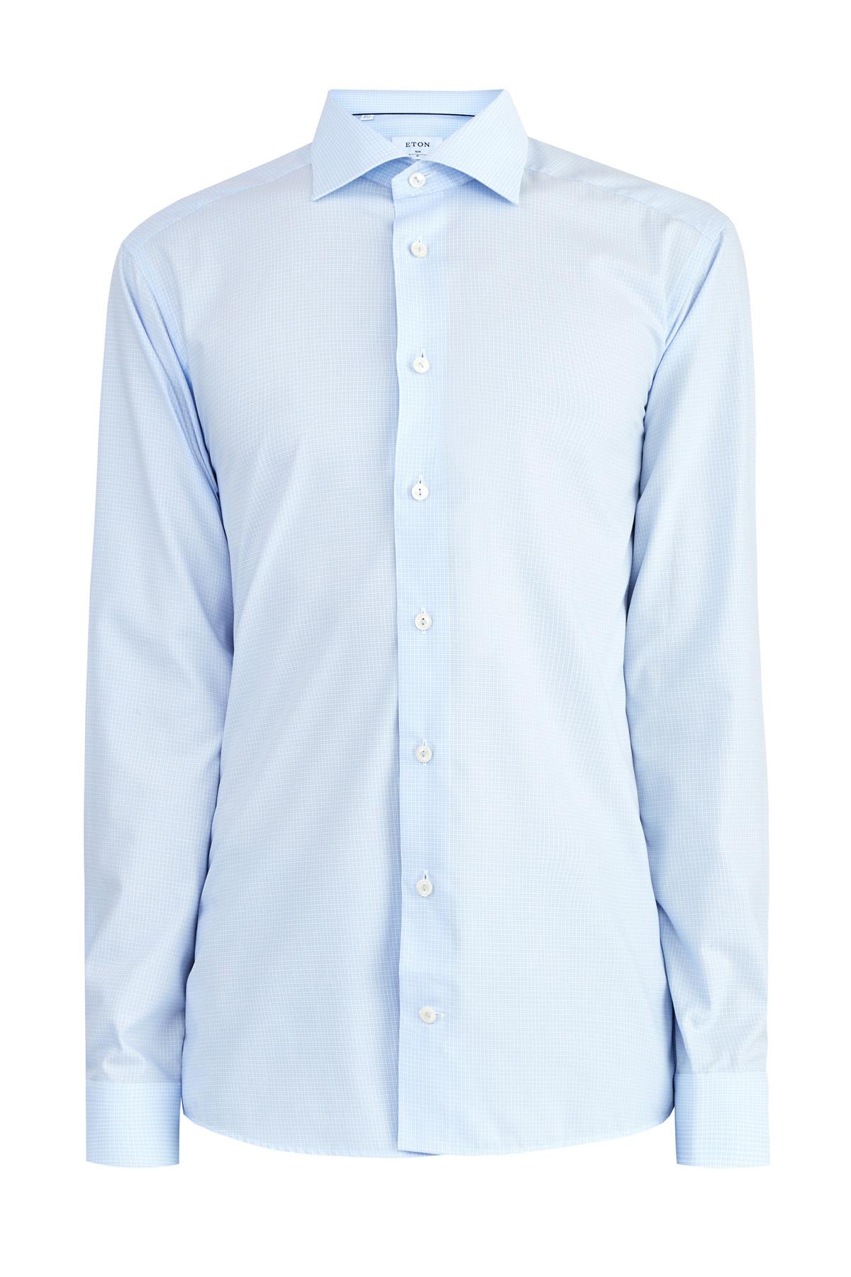 Рубашка Slim Fit из хлопка Fine Twill с микро-принтом в клетку