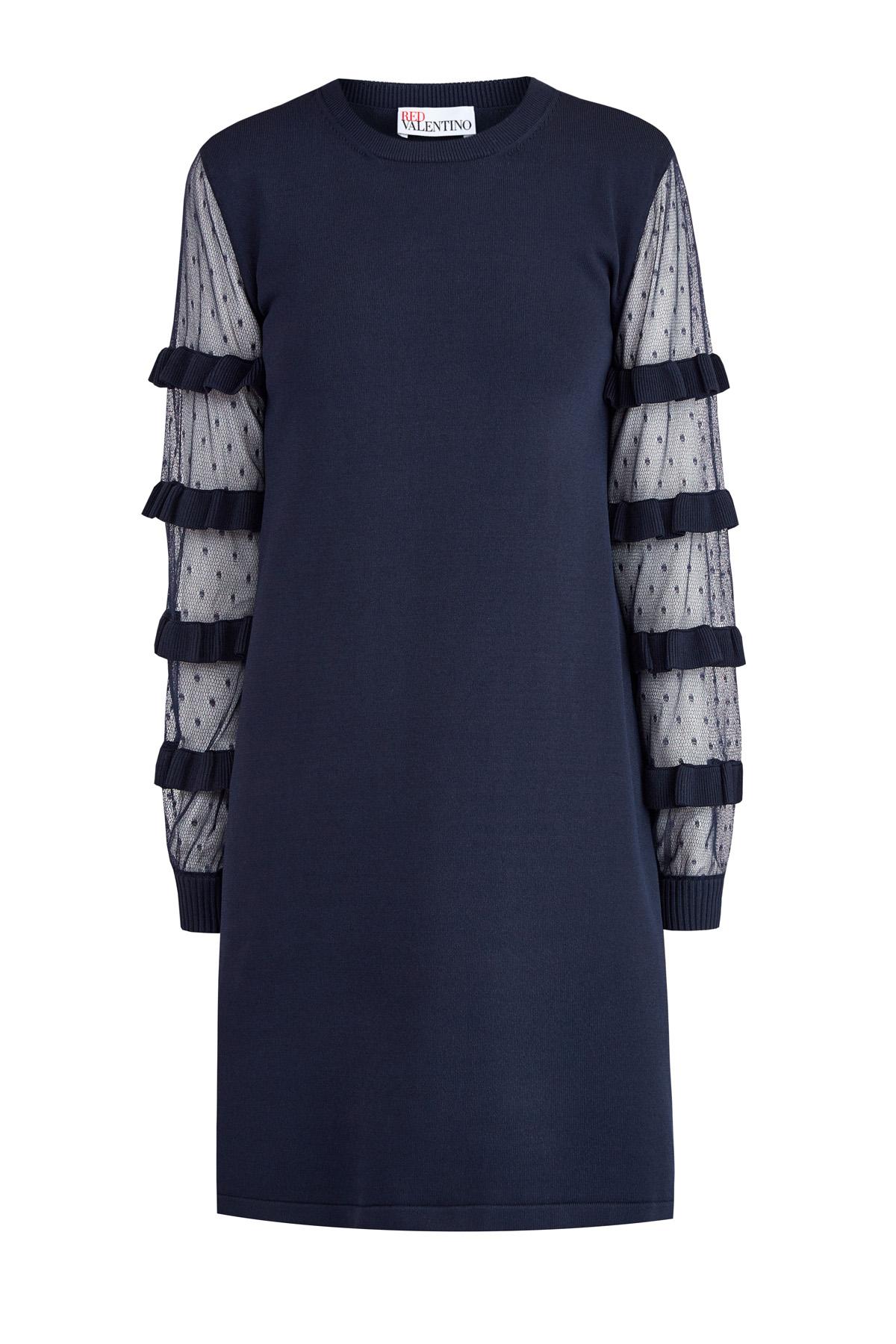 Платье-трапеция с рукавами из вуали Пуэн-деспри и вязаными оборками
