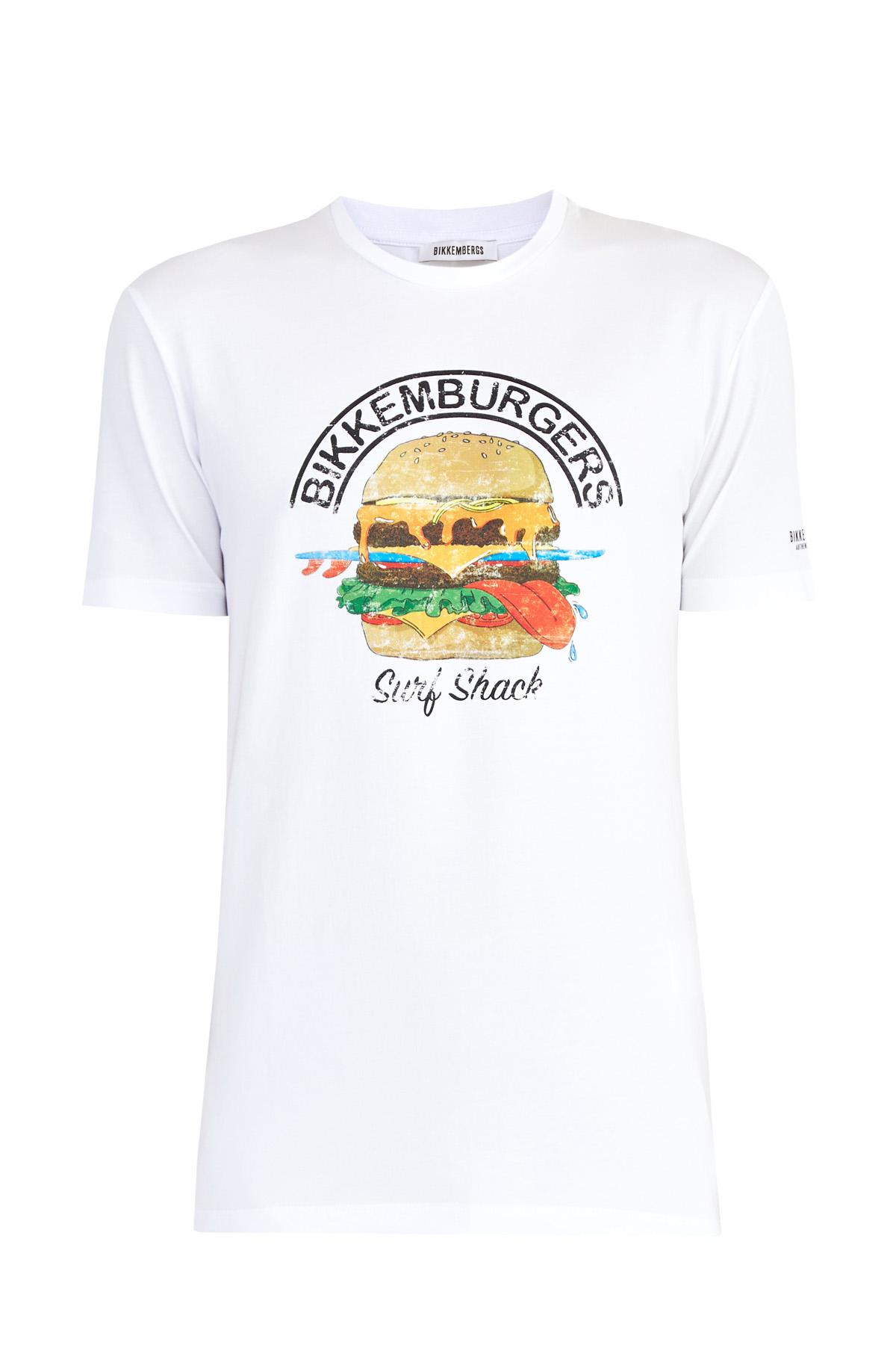 Купить Базовая футболка из джерси с ироничным макро-принтом, BIKKEMBERGS, Италия, хлопок 92%, спандекс 8%