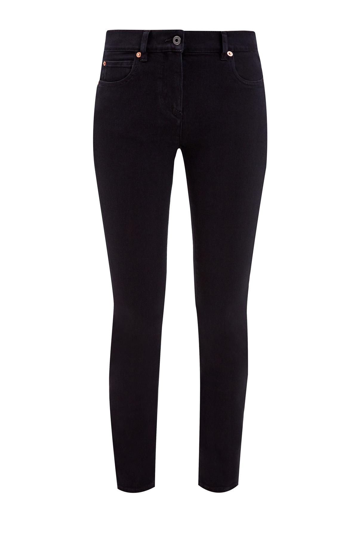 Однотонные джинсы-skinny изденима сконтрастным принтом Vlogo Signature