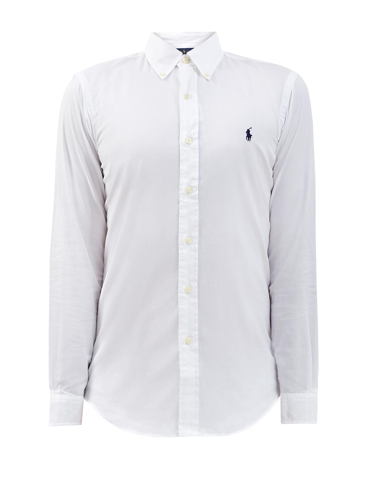 Белая рубашка из хлопкового пике с логотипом