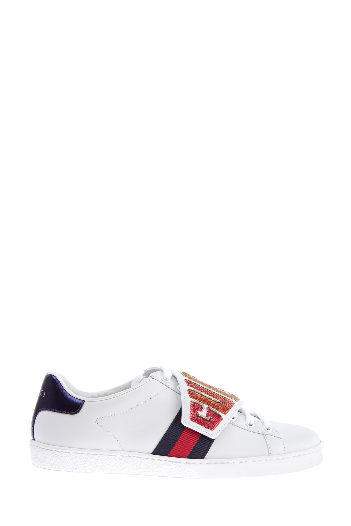 Купить Кеды со съемными патчами, закрывающими шнуровку и украшенные символикой бренда из пайеток, GUCCI, Италия, кожа 100%