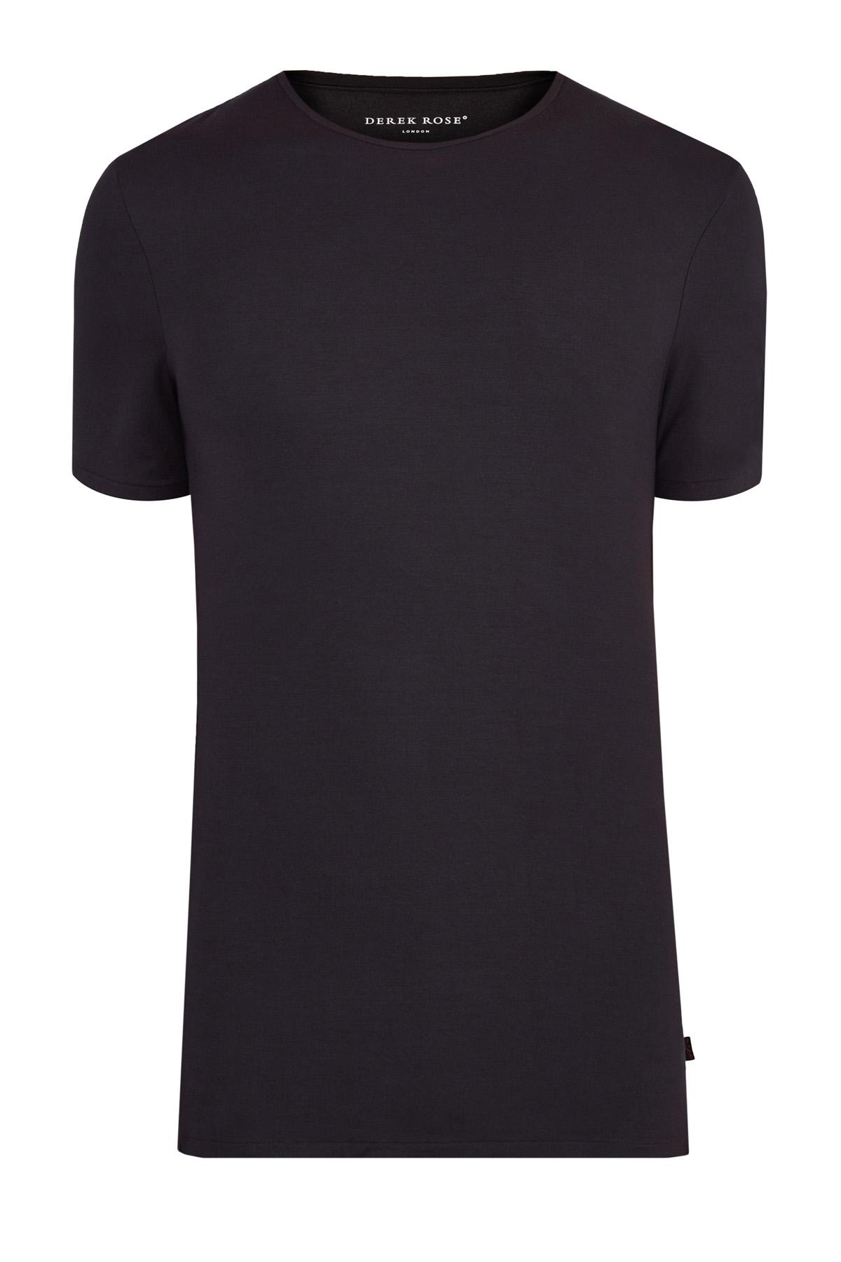 Купить со скидкой Черная хлопковая футболка с круглым вырезом