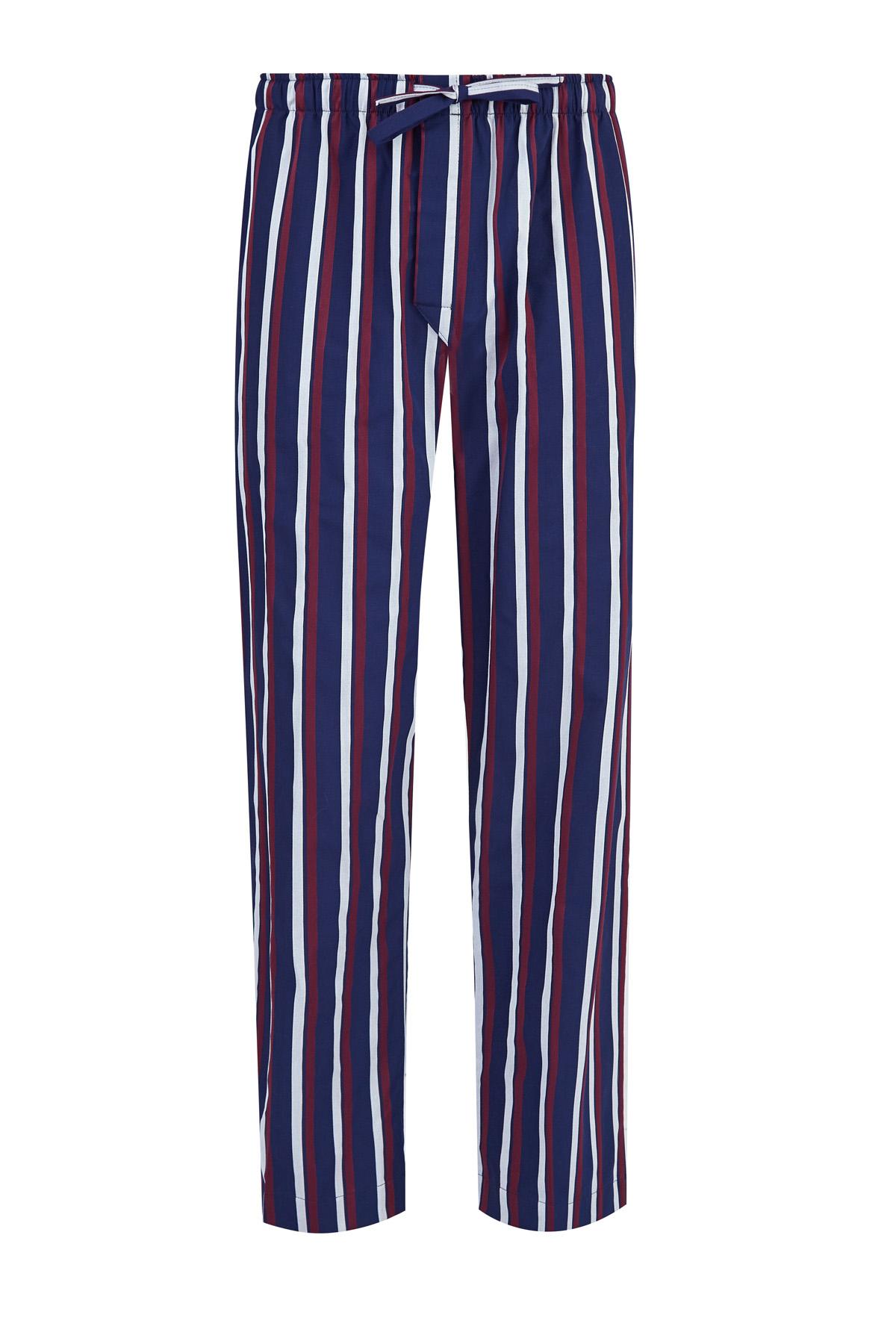 Пижамные брюки из атласного хлопка с принтом в полоску