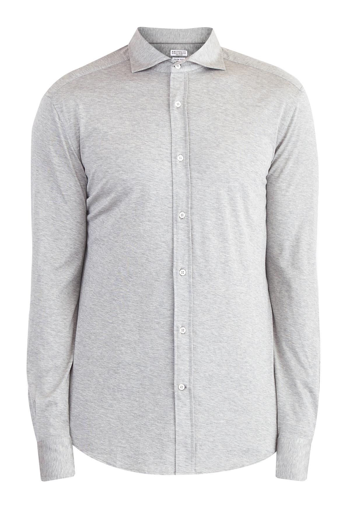 Рубашка из мягкого хлопкового джерси  сером меланжевом тоне