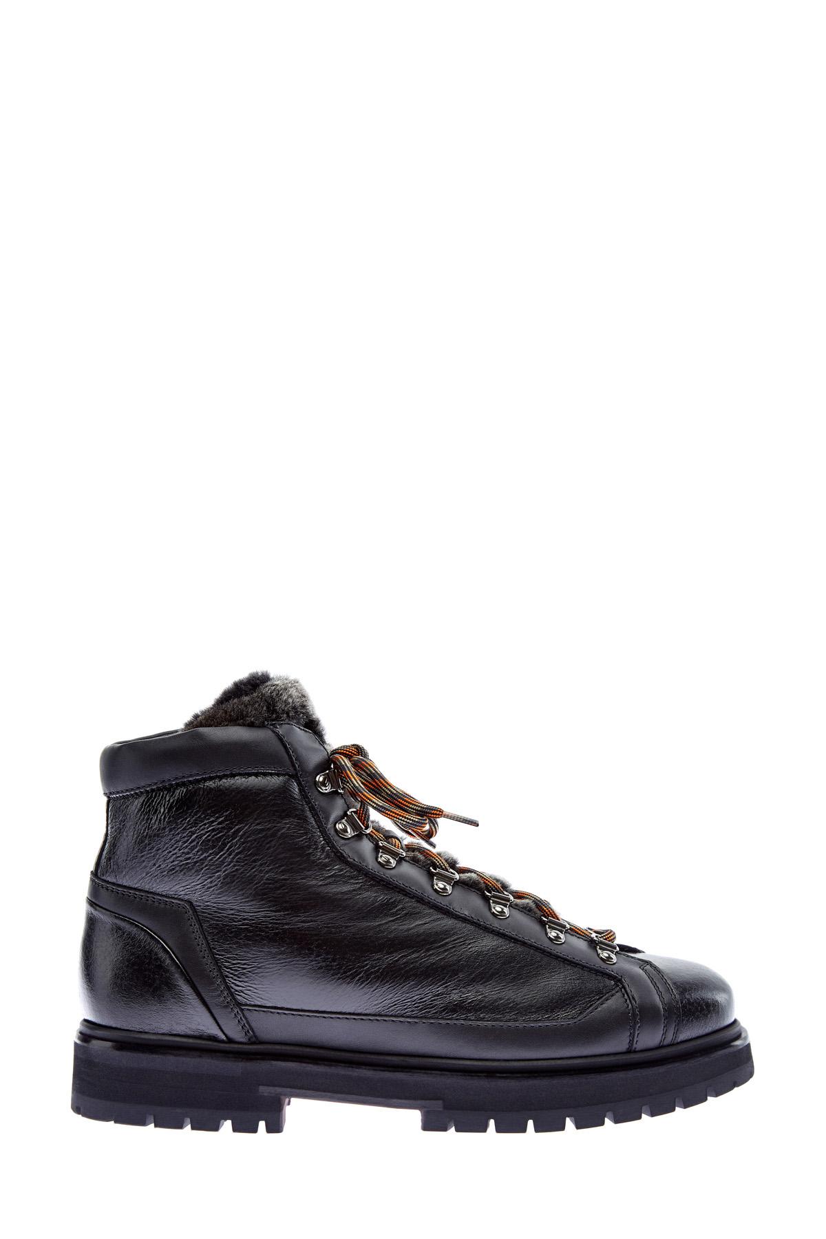 Высокие ботинки со вставками из кожи оленя и мехом фото