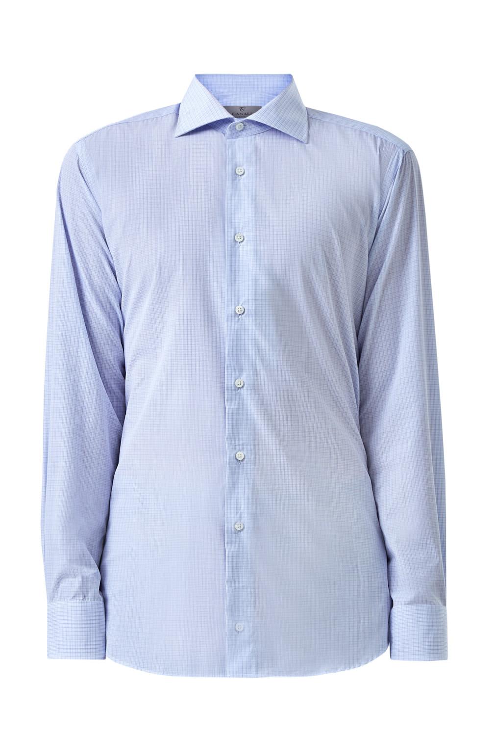 Классическая голубая рубашка из поплина с принтом в клетку