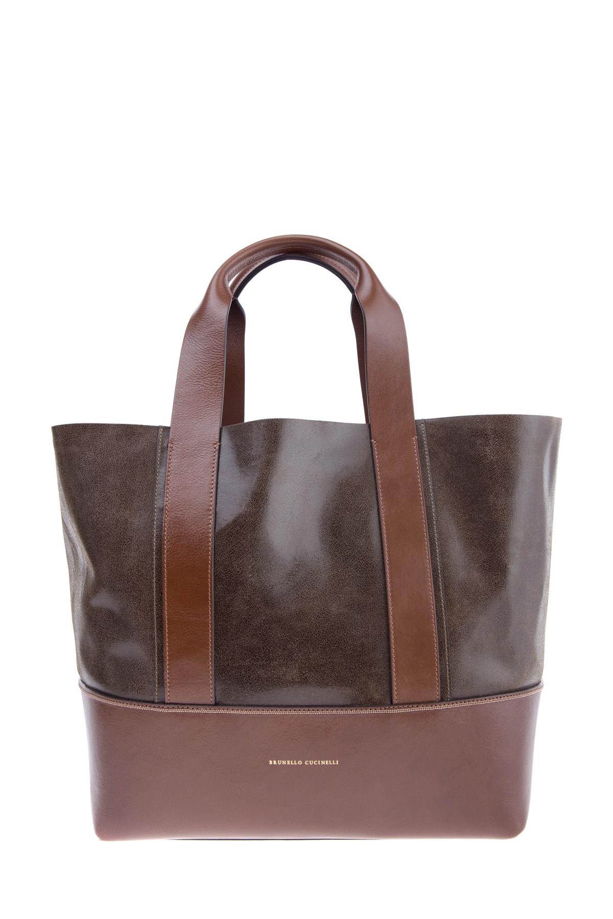 Кожаная сумка-шоппер со съемным клатчем Glossy