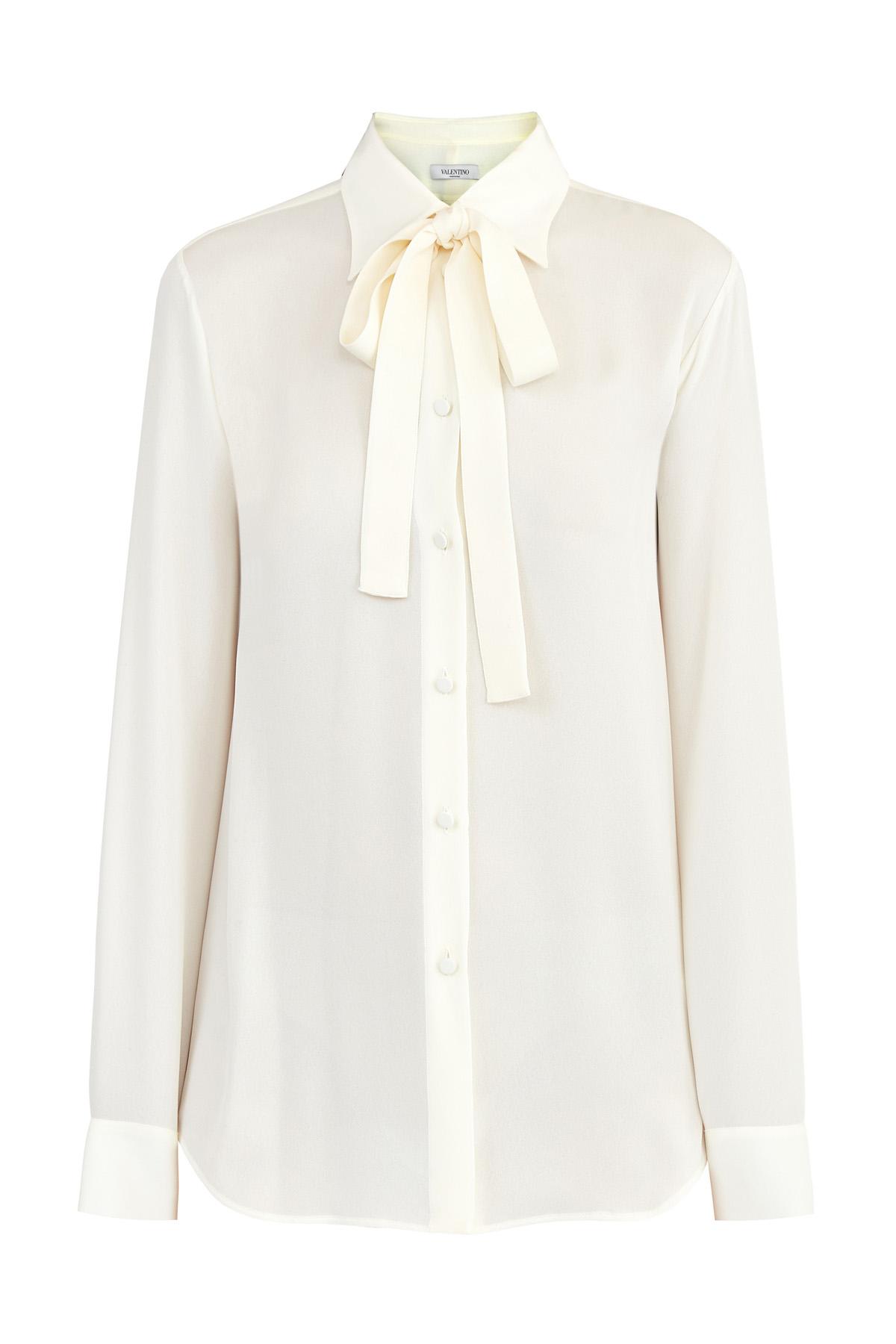 Купить Шелковая блуза молочно-белого оттенка с лентами на вороте, VALENTINO, Италия, шелк 100%