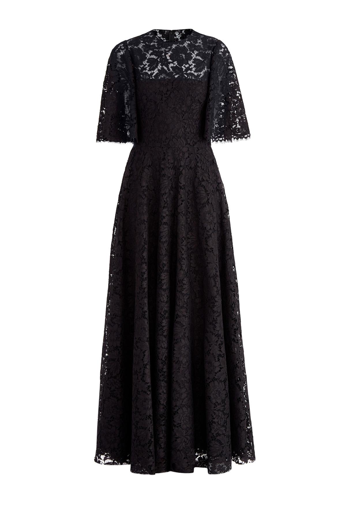 Купить Платье из кружева Heavy Lace с расклешенными рукавами, VALENTINO, Италия, хлопок 71%, вискоза 21%, полиамид 8%