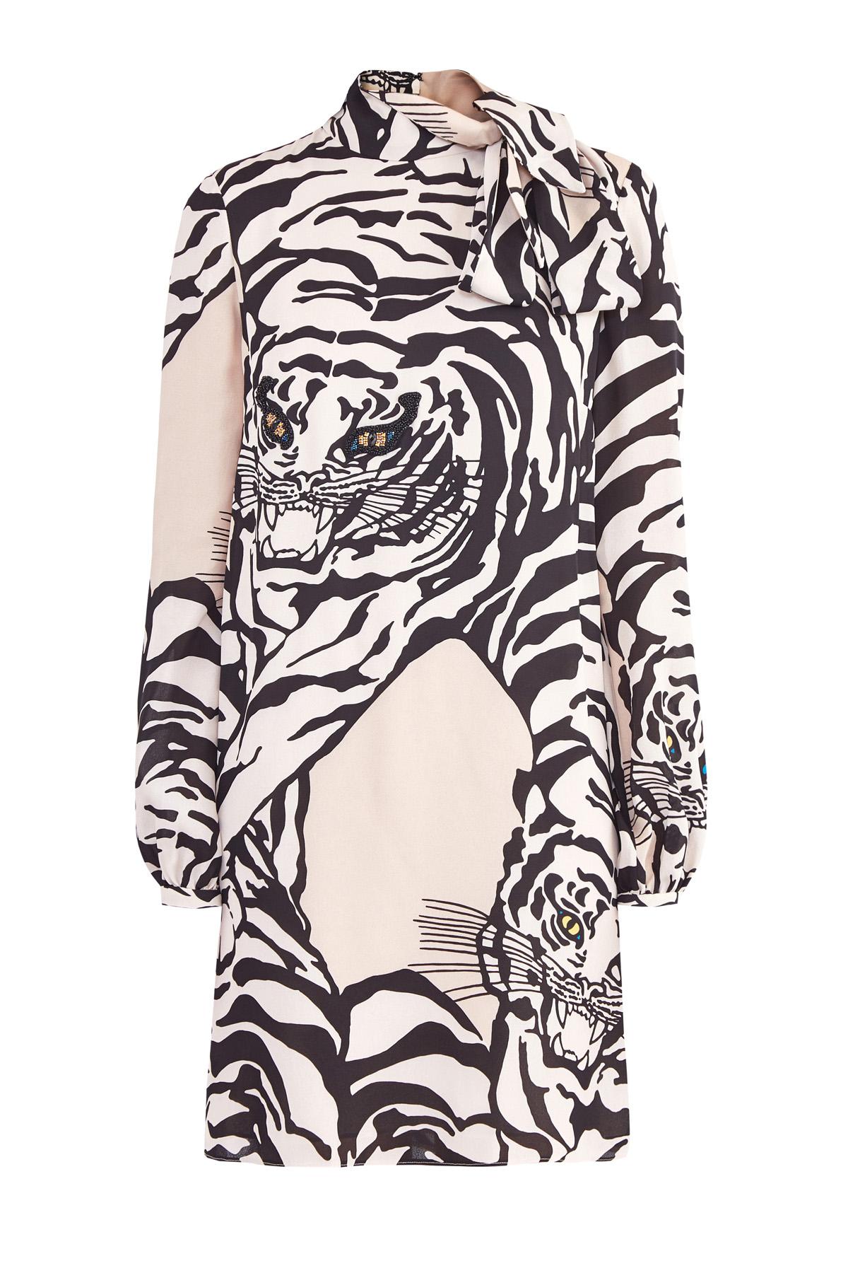Платье с принтом Tiger Re-edition и расшитыми вручную деталями фото