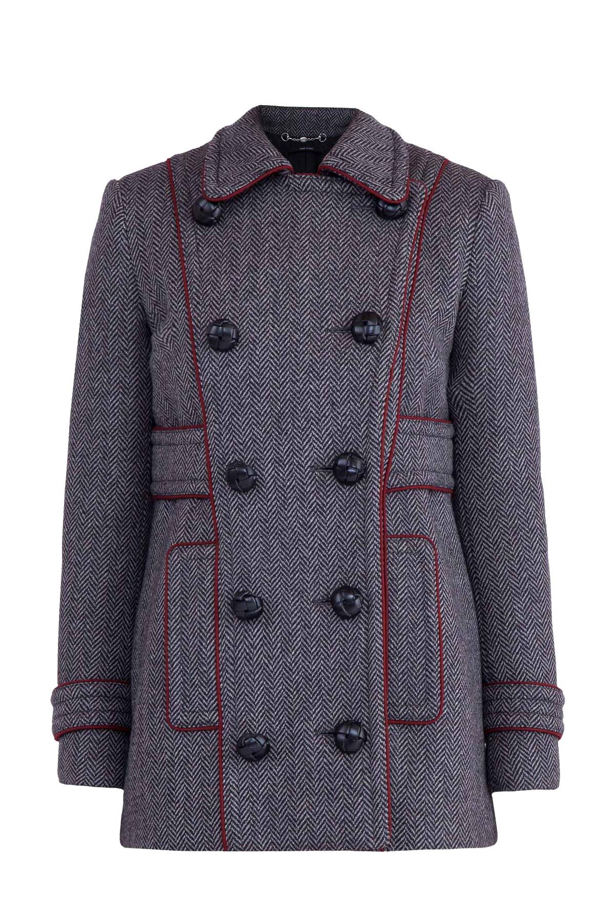 Купить Пальто, GUCCI, Италия, полиамид 100%, шерсть 98%, спандекс 1%, полиамид 1%, кожа 100%, вискоза 80%, полиэстер 20%