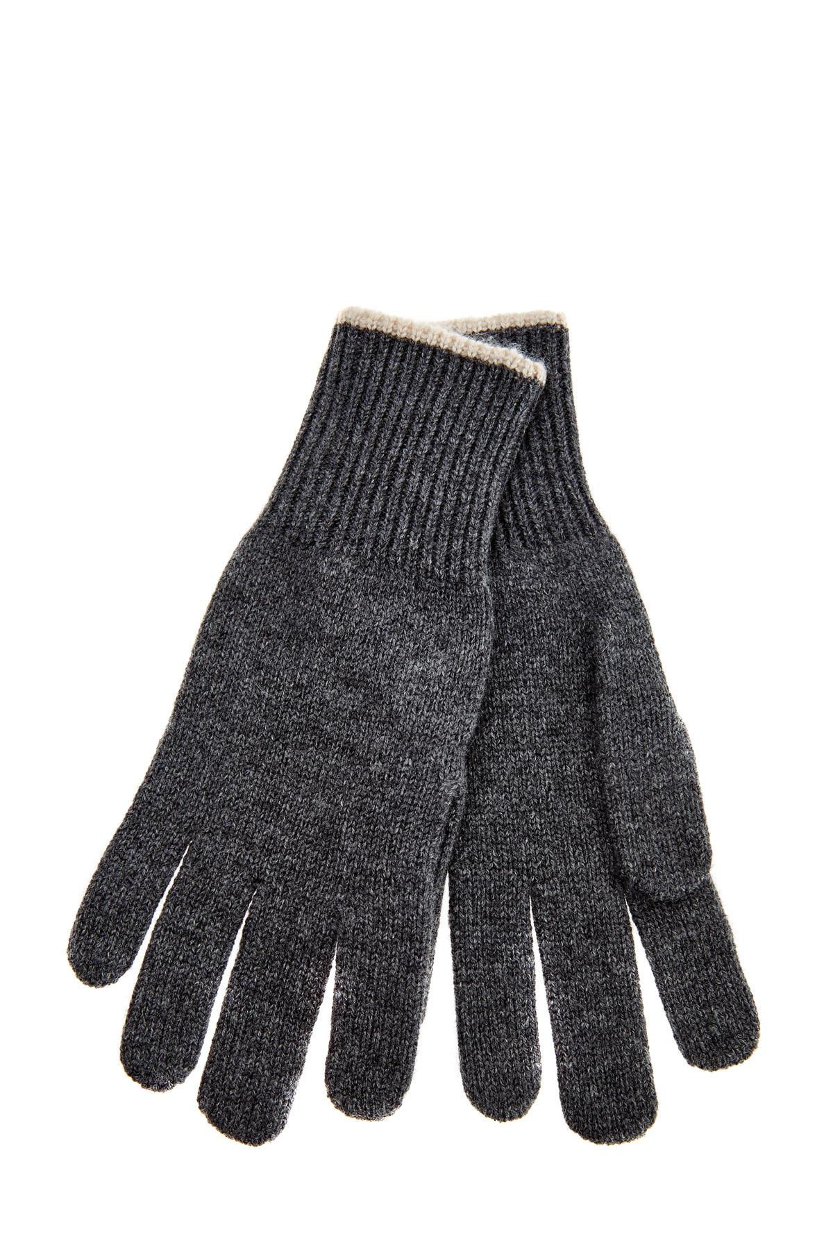Кашемировые перчатки с контрастной окантовкой фото