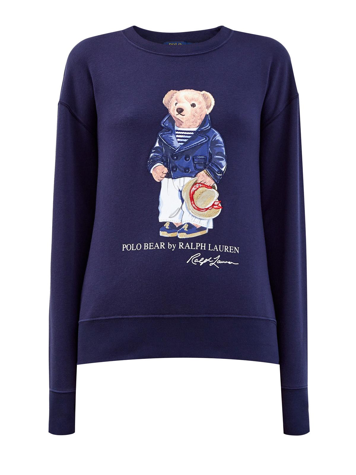 Хлопковый свитшот с макро-аппликацией талисмана бренда POLO RALPH LAUREN. Цвет: синий