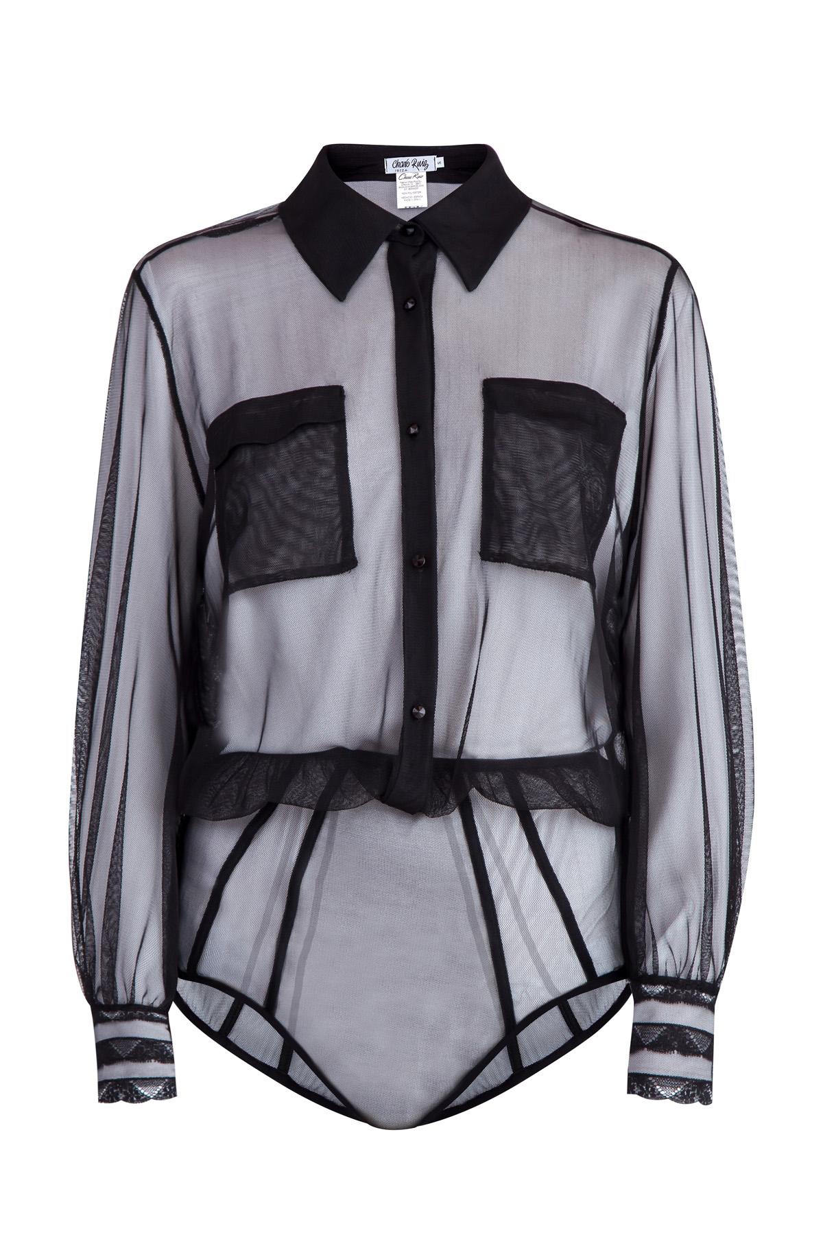 Блузка-боди из прозрачной ткани с эластичной вставкой на поясе