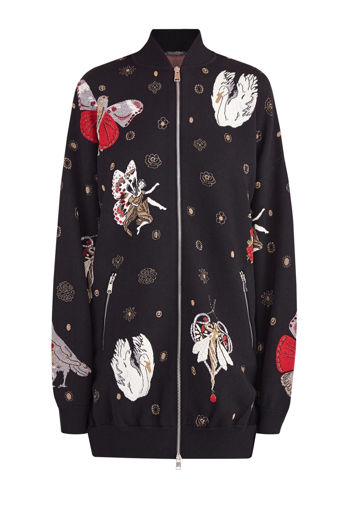Купить Куртка, ALEXANDER MCQUEEN, Италия, шелк 42%, шерсть 39%, полиамид 8%, металлическое волокно 5%, полиэстер 5%, .Экокожа 1%