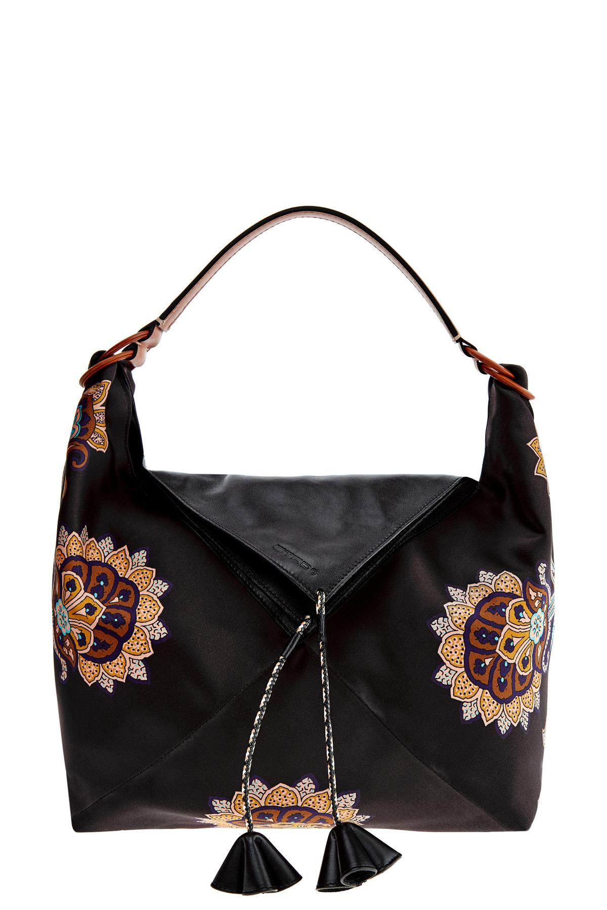 Купить Сумка-тоут мягкой формы в этническом стиле из кожи и атласа, ETRO, Италия, полиэстер 100%