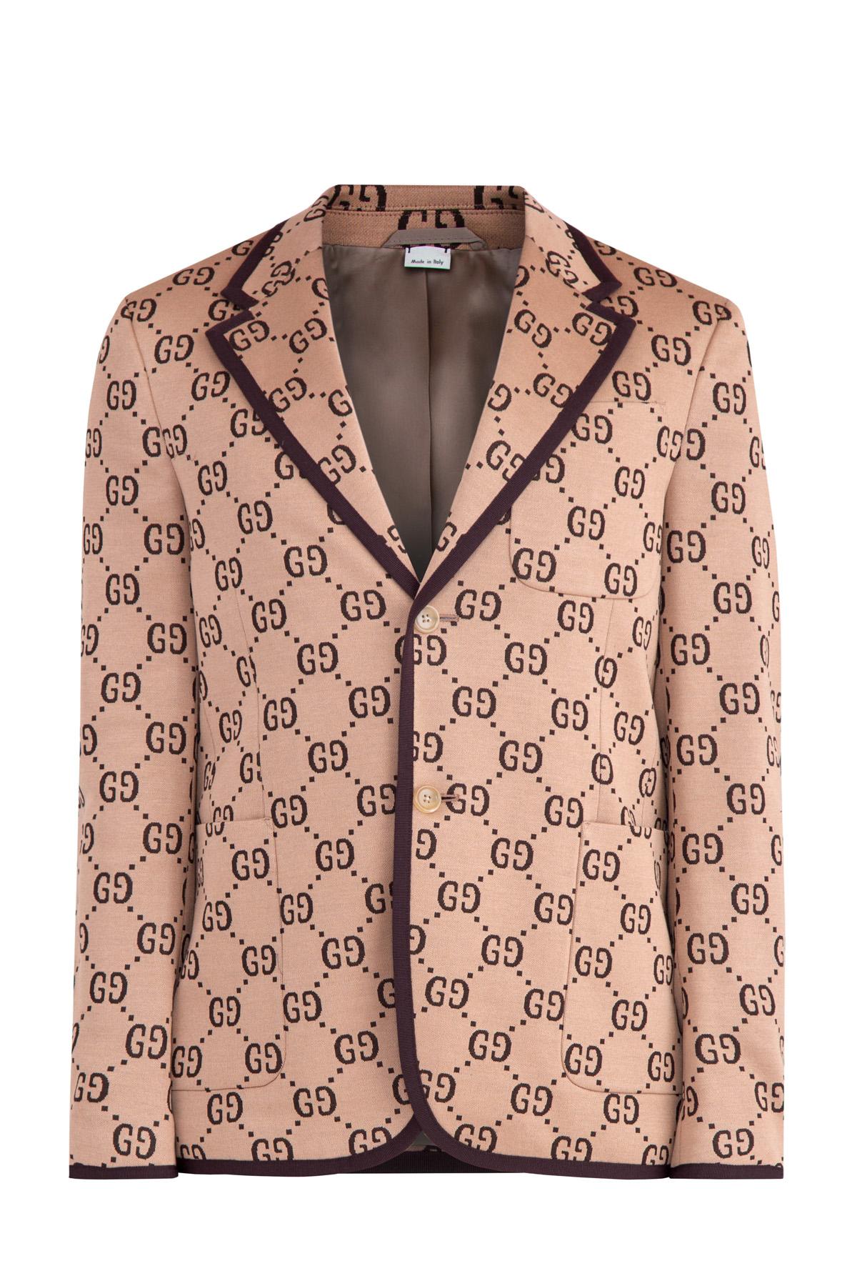 Пиджак с ромбовидным узором с символикой GG и однотонным кантом