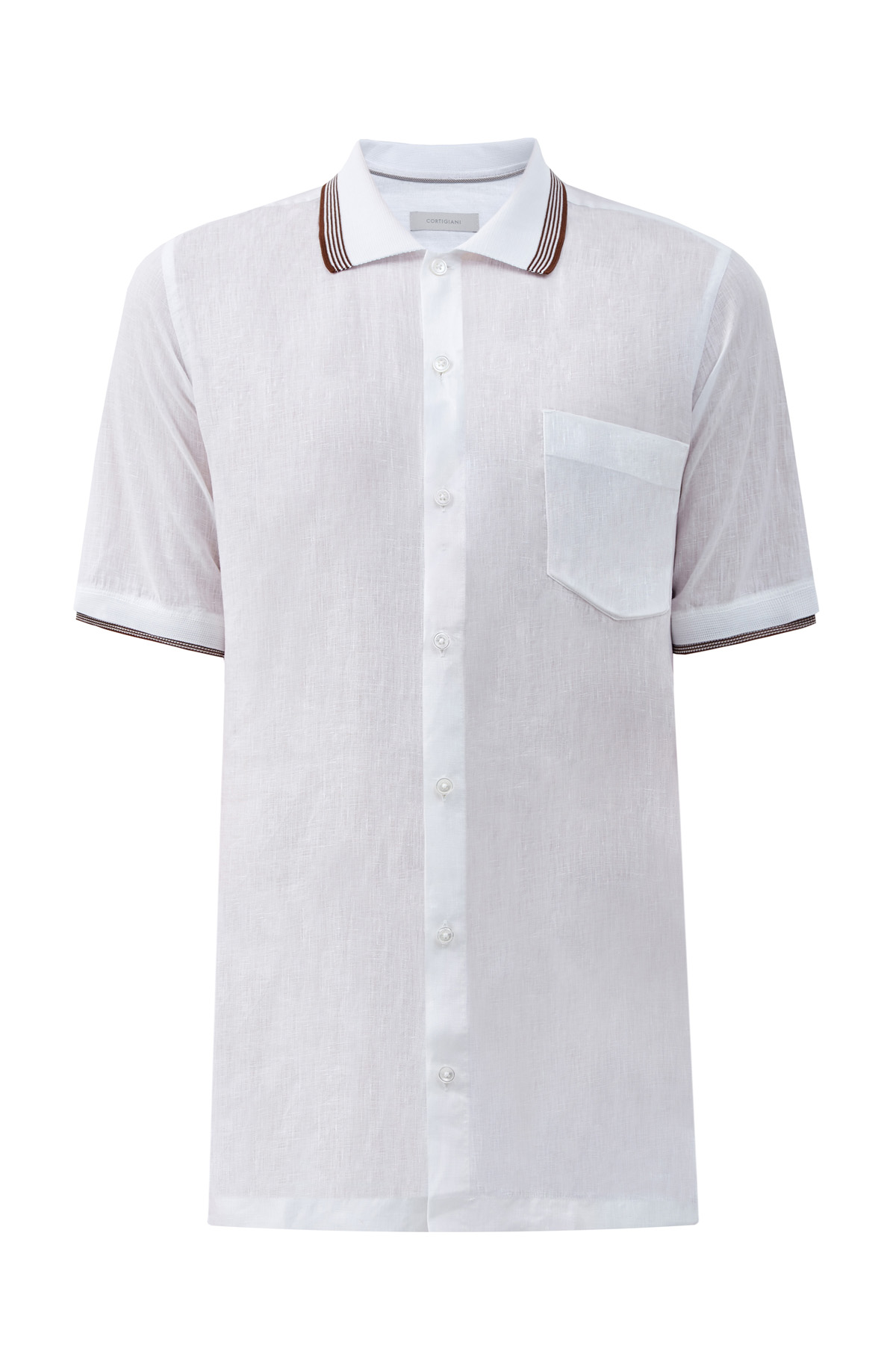 Льняная рубашка с вязаной отделкой в полоску
