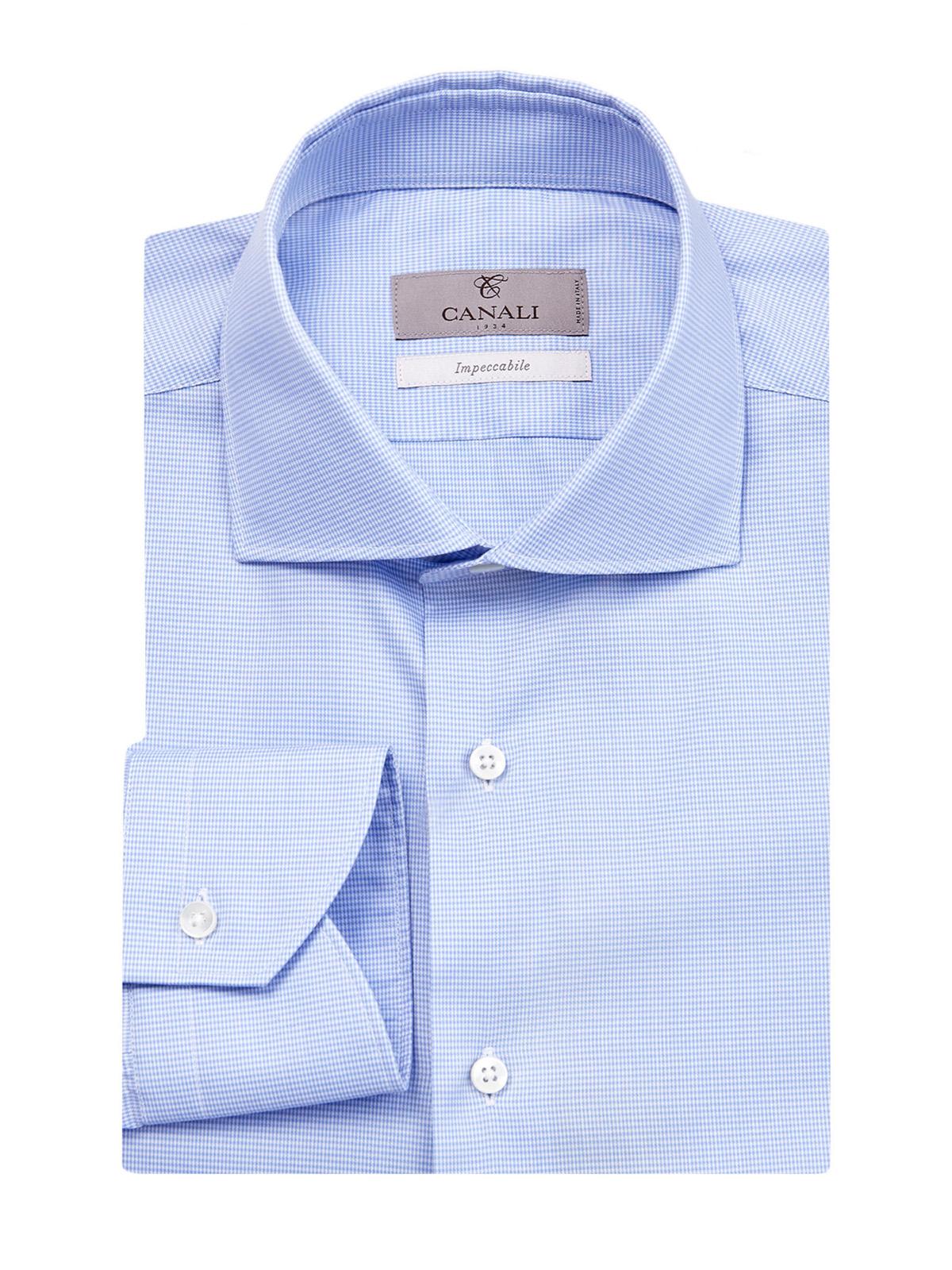 Рубашка из хлопковой саржи Impeccabile с микро-принтом