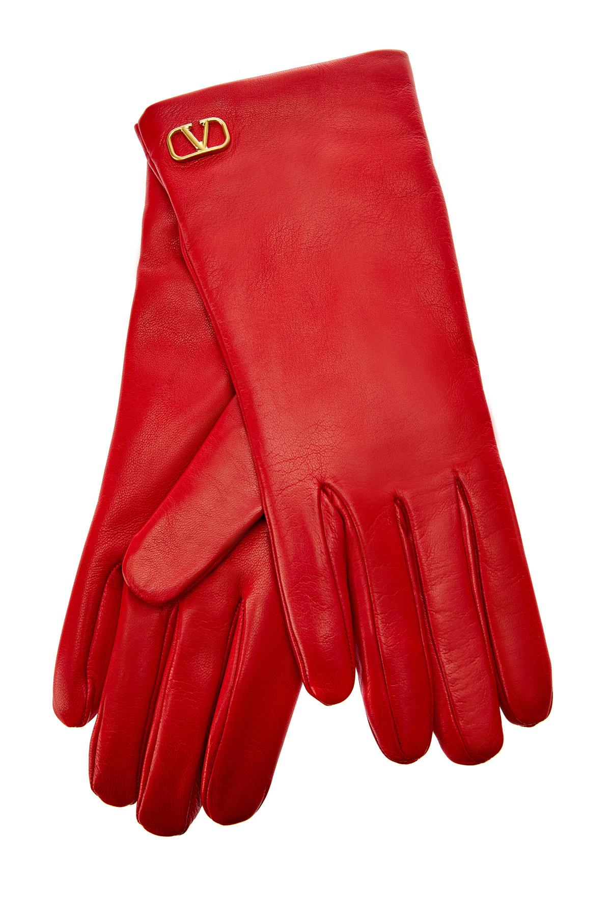 Кожаные перчатки с подкладкой из кашемира фото