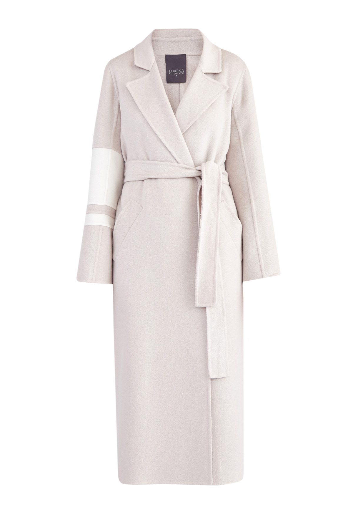 Кашемировое пальто с поясом и асимметричными полосами на рукаве фото