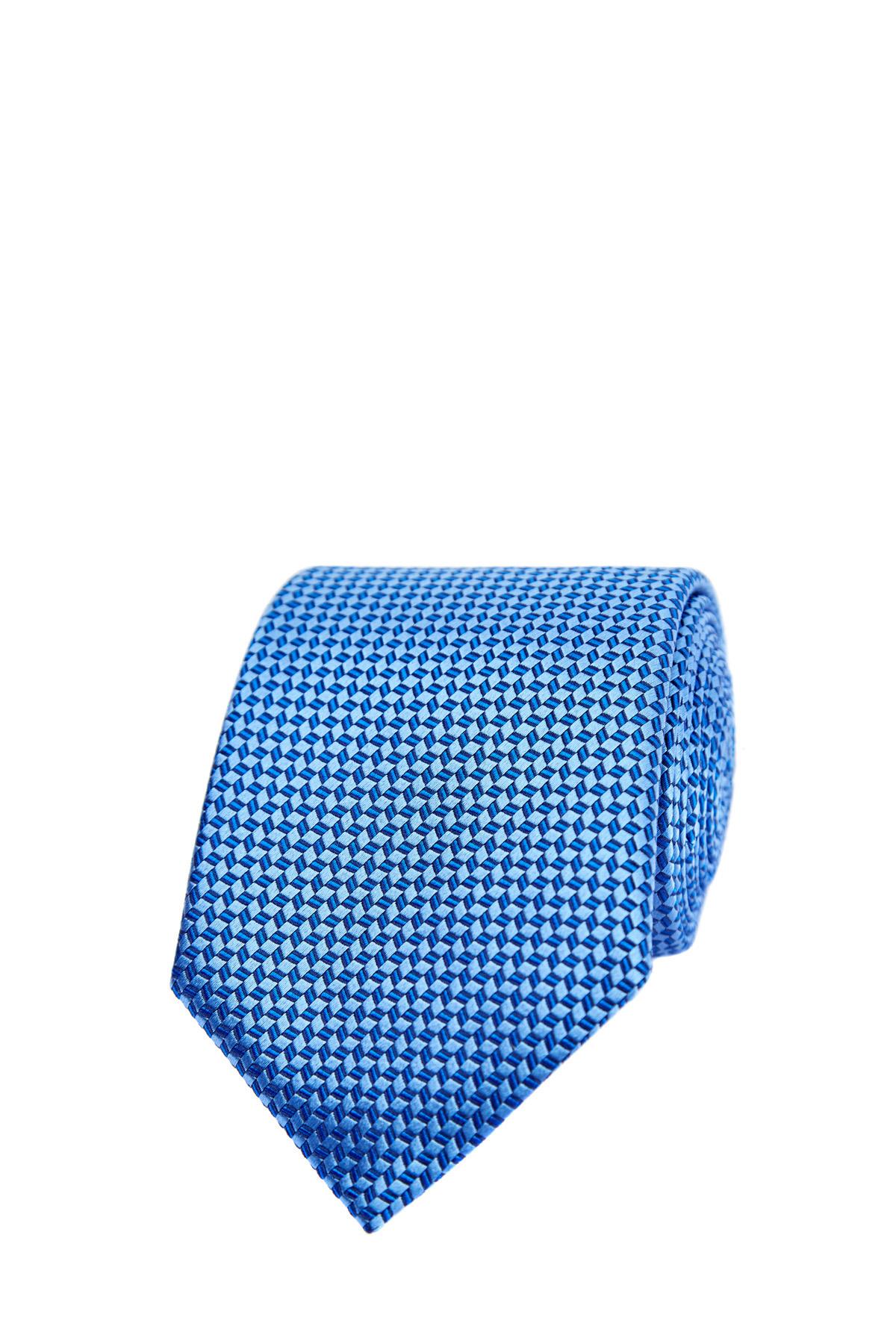 Купить со скидкой Галстук ручной работы из шелка с микро-принтом в голубой гамме