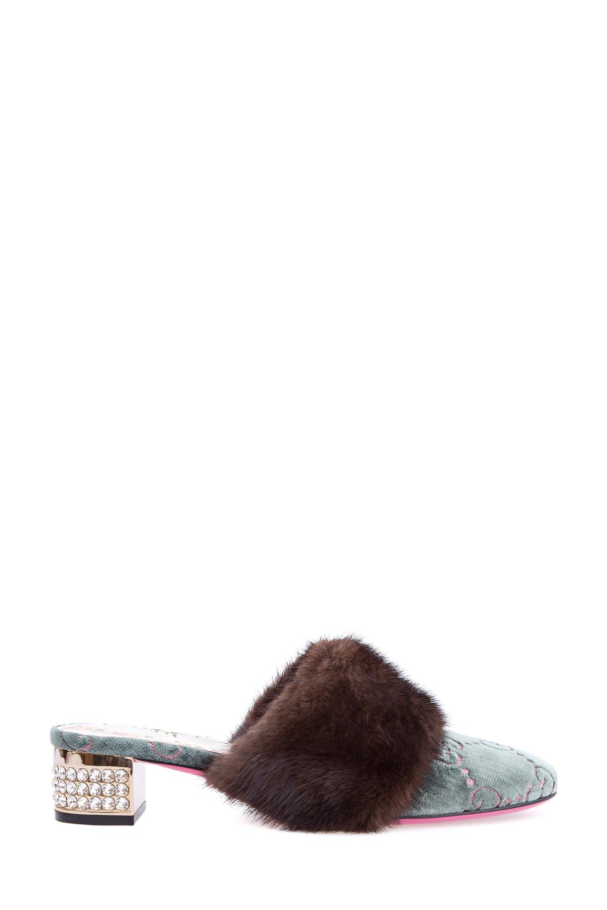 Мюли с отделкой бархатом с жаккардовым узором GG и отделкой мехом норки