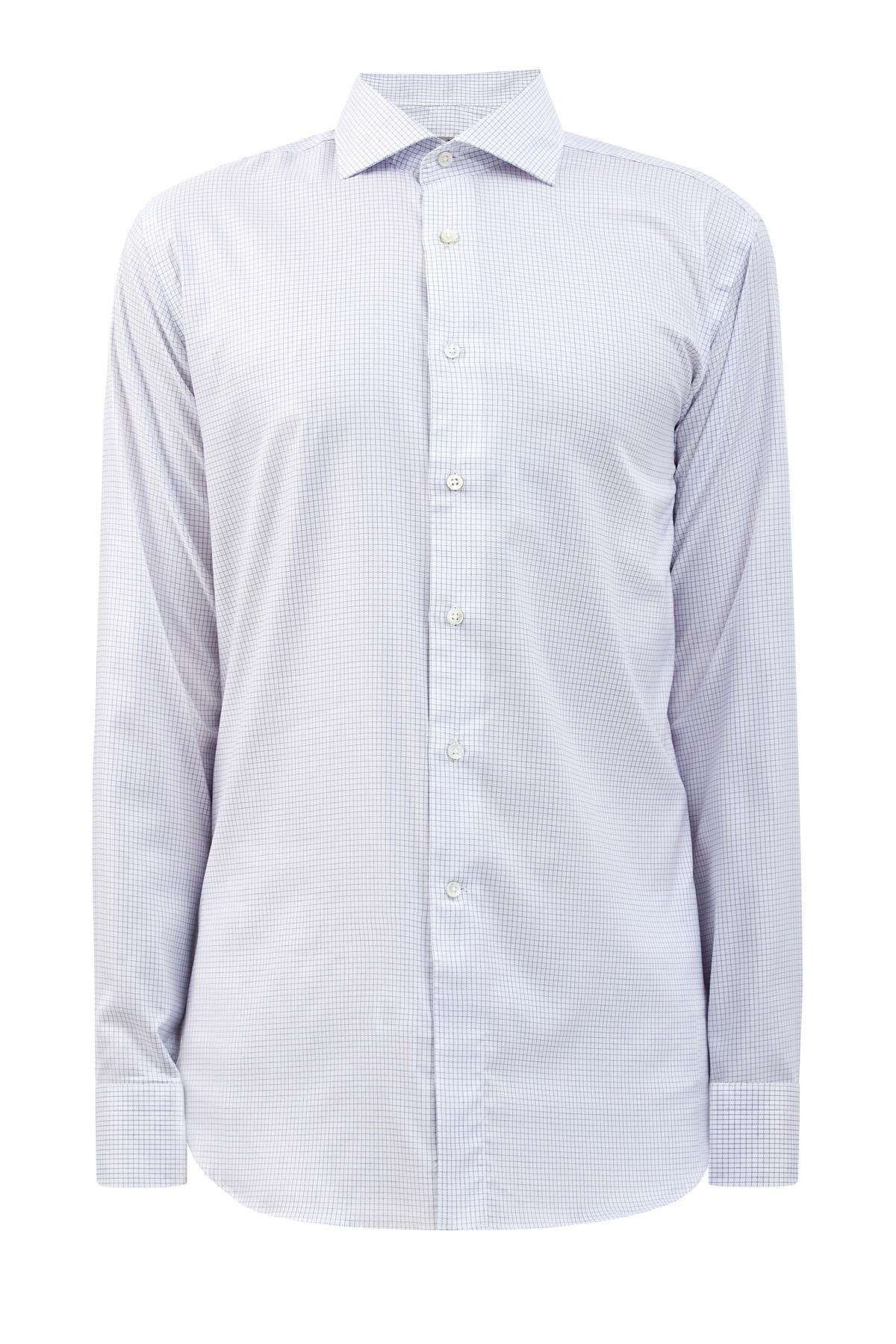Рубашка из хлопковой саржи Impeccabile с принтом в клетку