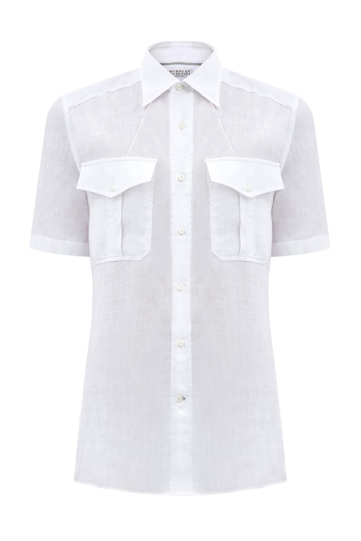 Льняная рубашка с воротом button-down и объемными карманами