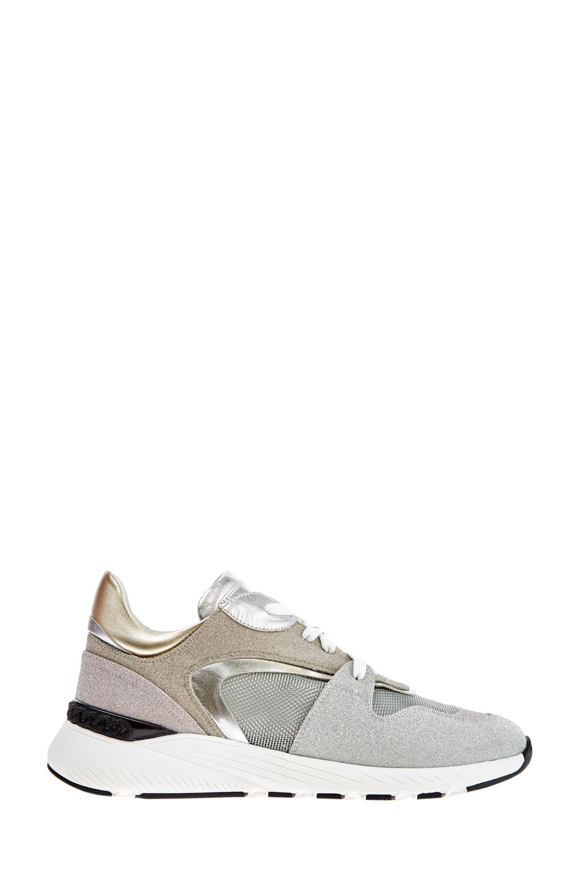 Массивные кроссовки из кожи с мерцающим металлизированным покрытием