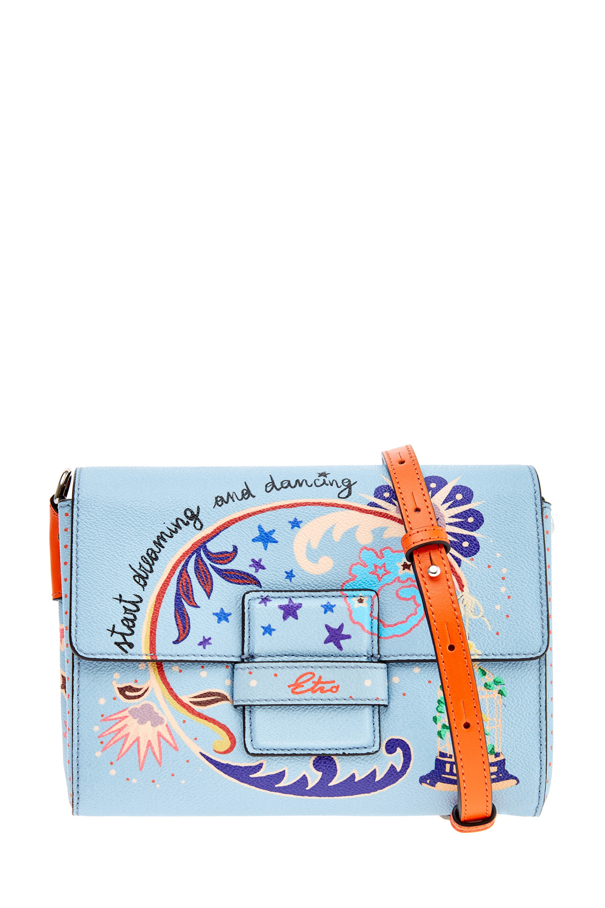 Купить Клатч из зернистой кожи с принтом The Daydreamer, ETRO, Италия, полиэстер 58%, хлопок 42%, кожа 100%