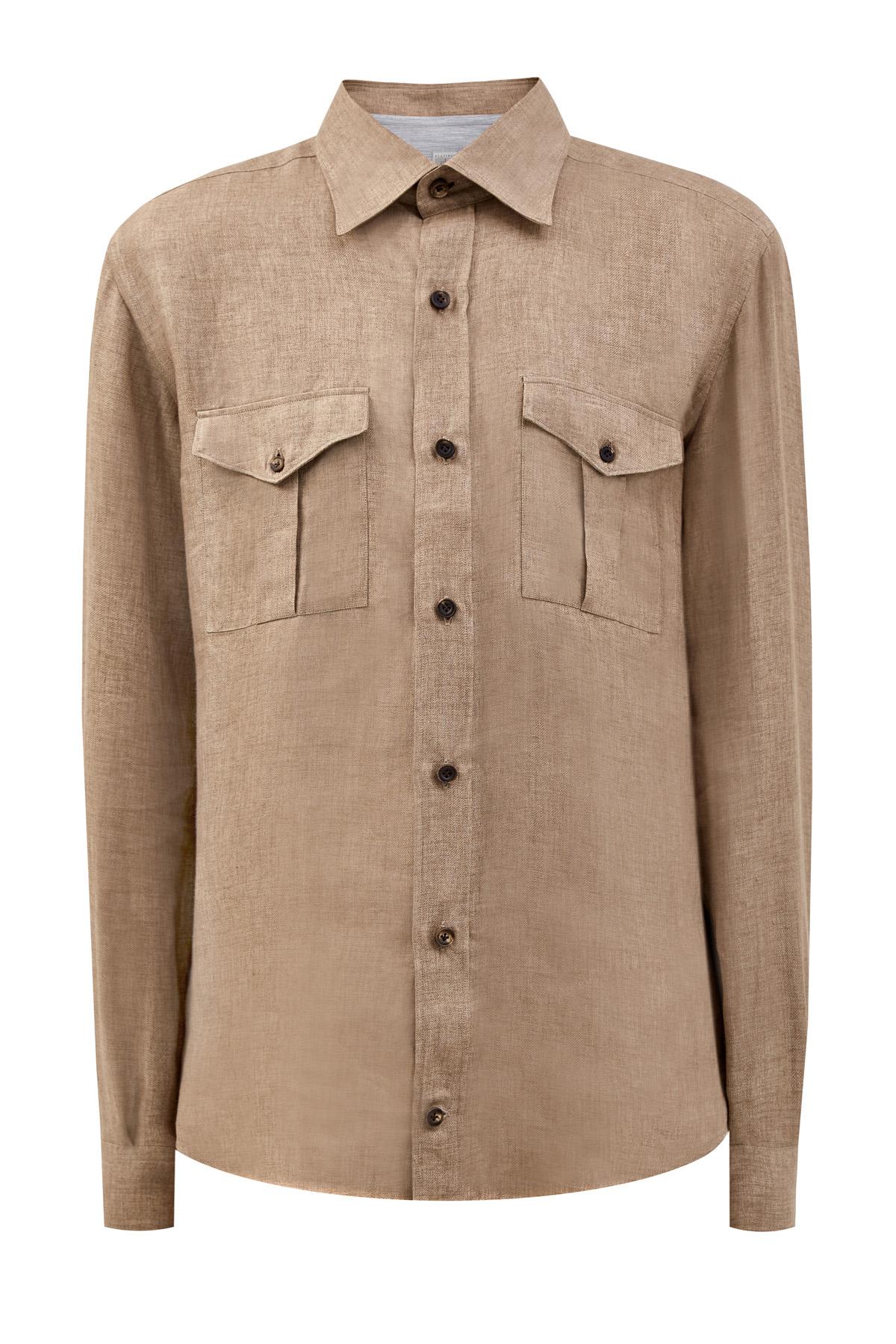 Льняная рубашка из коллекции Platinum с карманами
