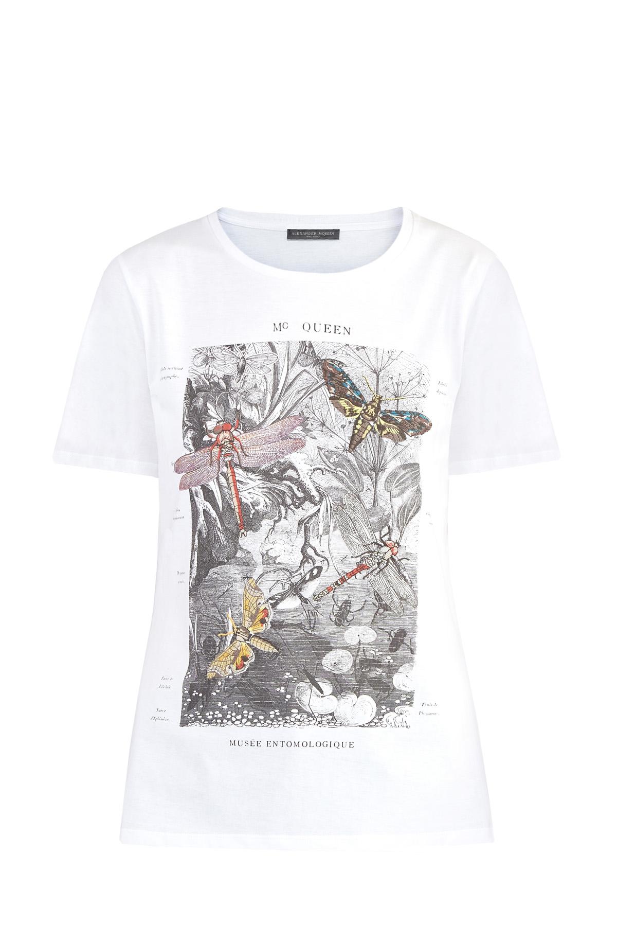 Купить Базовая футболка из джерси с принтом Musee Entomologique, ALEXANDER MCQUEEN, Италия, хлопок 100%