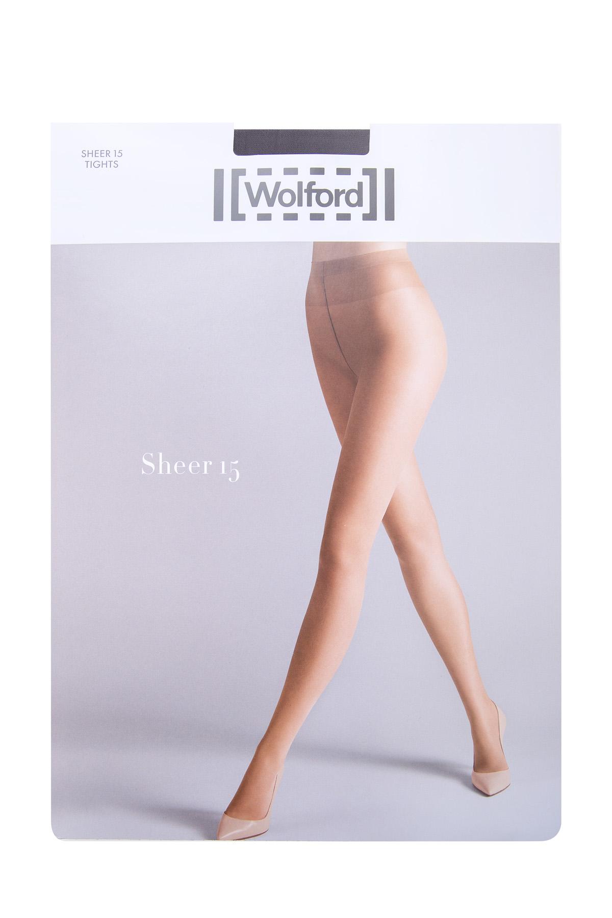 Колготки серого цвета Sheer 15 с плотными шортиками и широким поясом фото