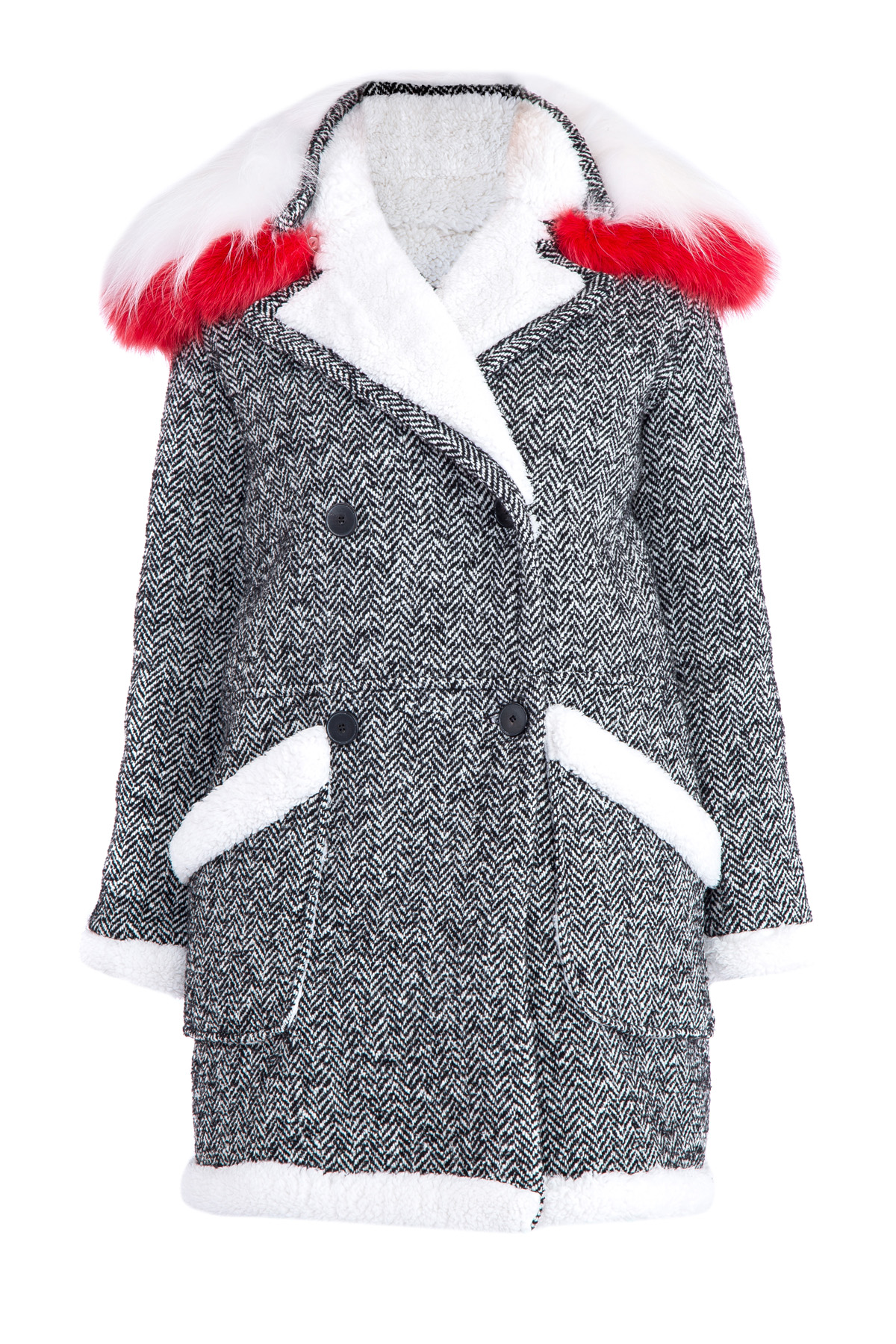 Купить Пальто, ERMANNO ERMANNO SCERVINO, Италия, шерсть 37%, акрил 36%, полиэстер 23%, другие волокна 4%, мех лисы 100%