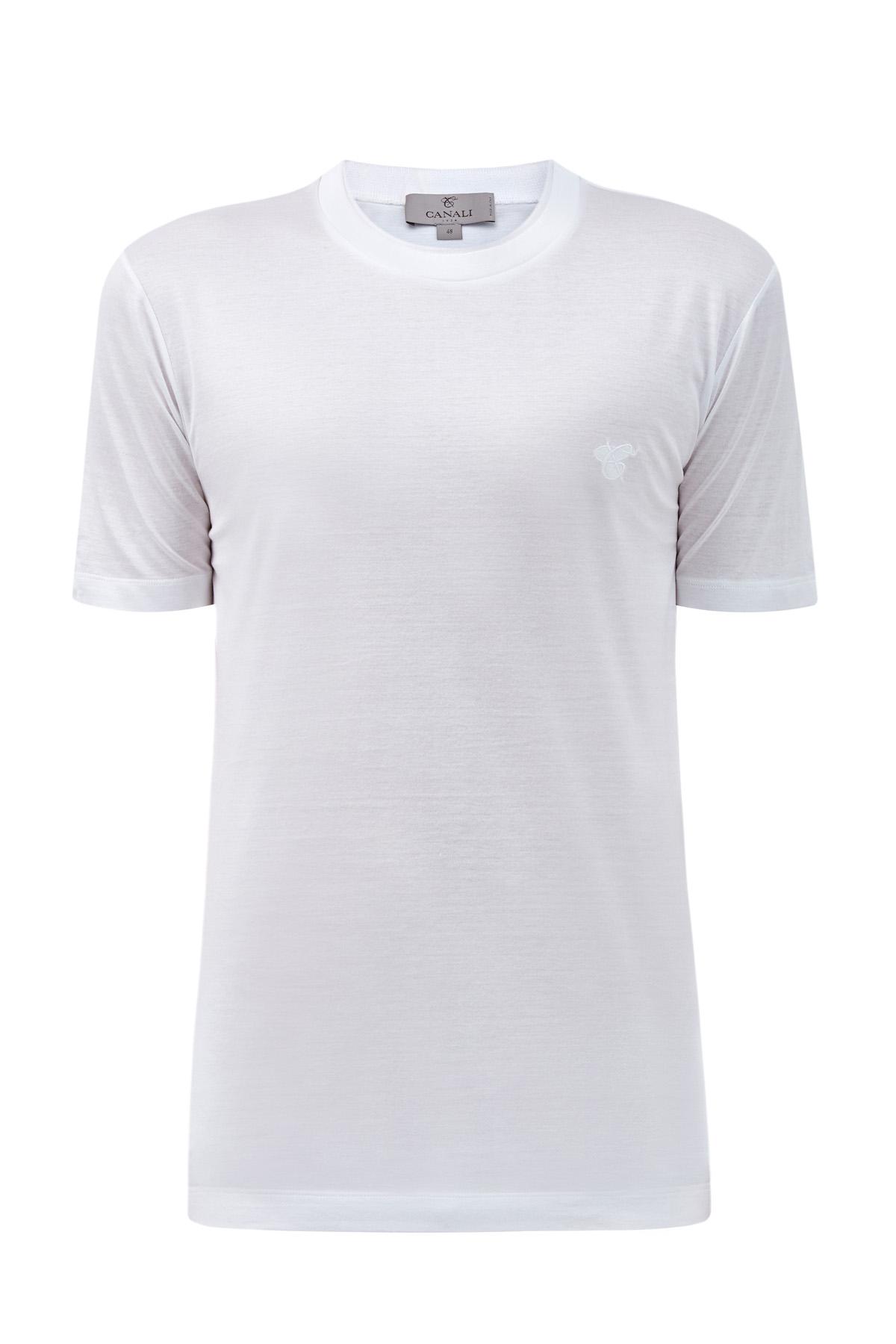 Хлопковая футболка из джерси с двойной отделкой ворота фото