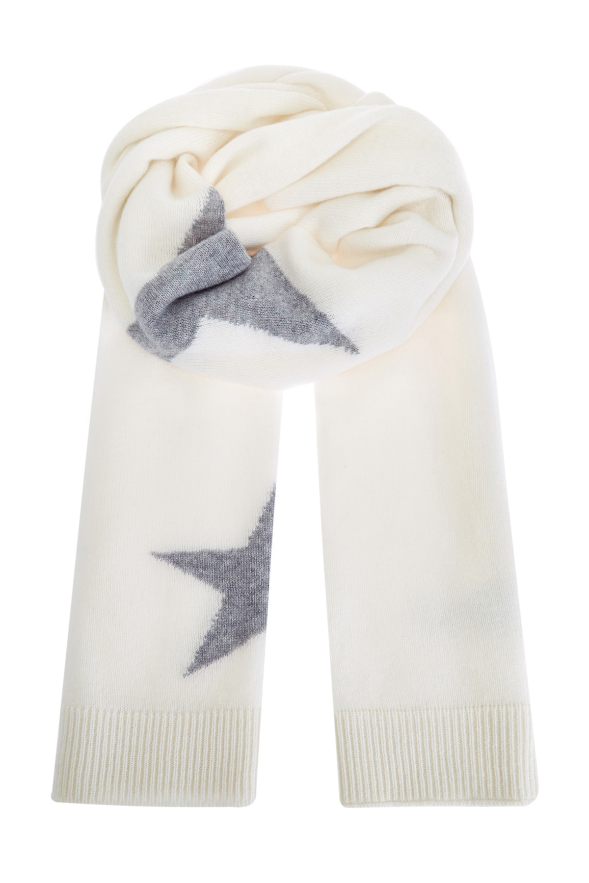 Белый шарф изтонкой кашемировой пряжи сузором втехнике интарсии