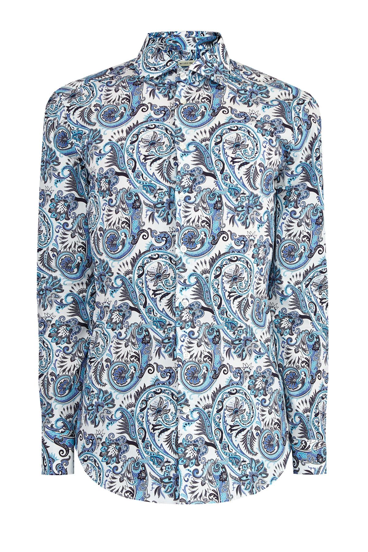 Приталенная рубашка с набивным принтом в лазурных тонах