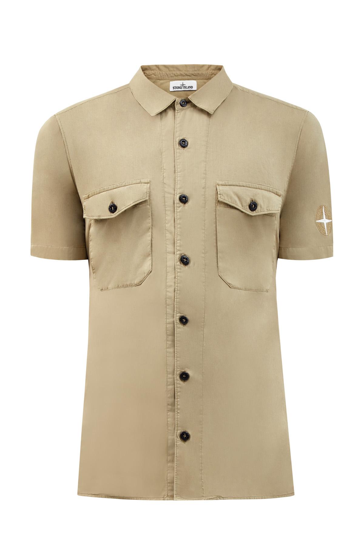 Хлопковая рубашка излегкого муслина скороткими рукавами