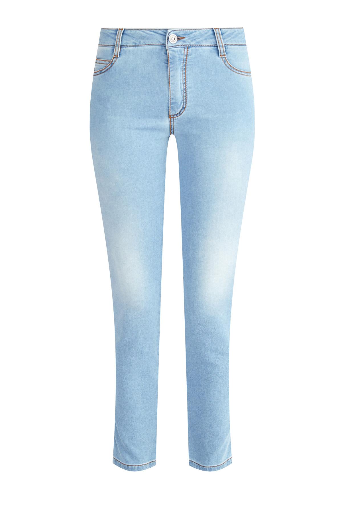 Лаконичные джинсы длины ⅞ из тонкого денима  с эффектом варки