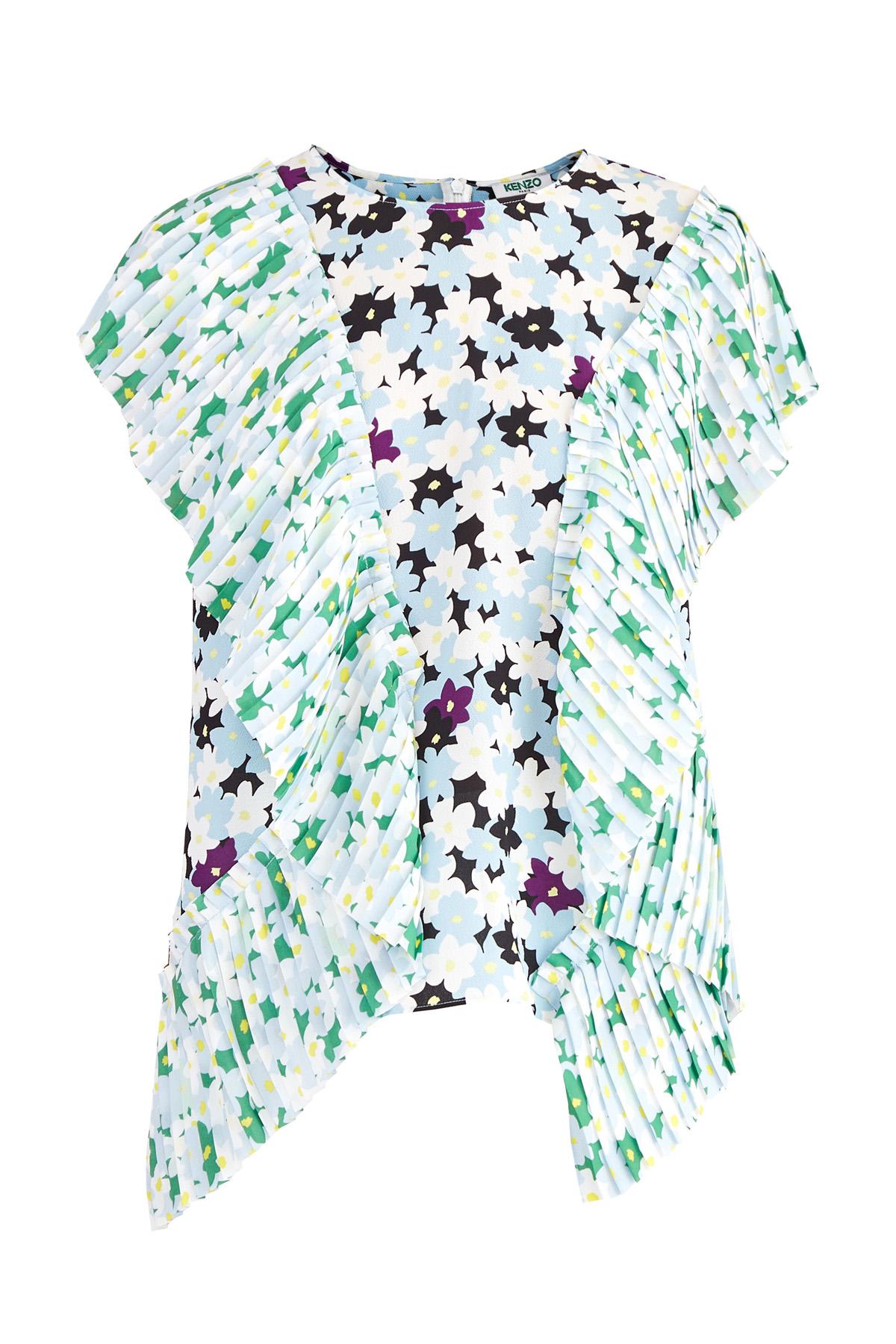 Блузка с цветочным узором Allover и плиссированными оборками