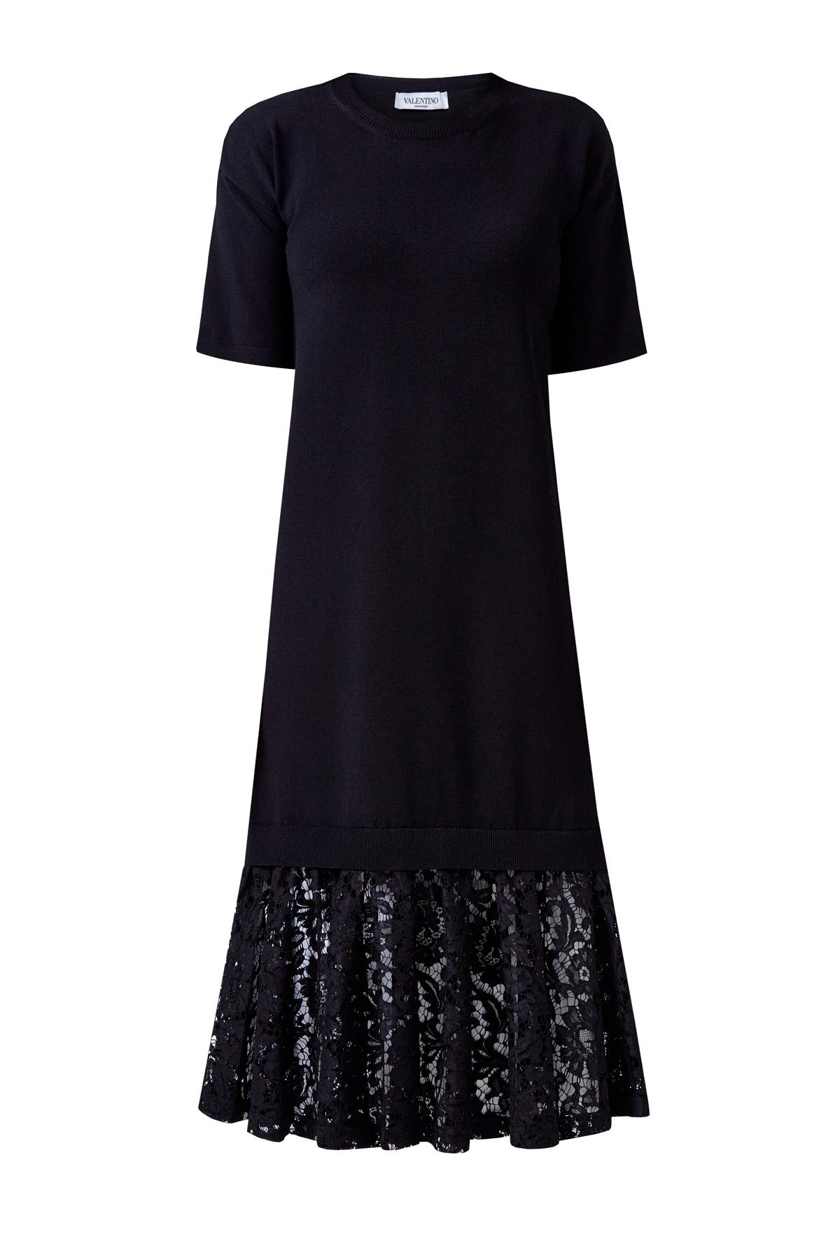 Платье из пряжи Stretch с кружевом Heavy Lace на подоле фото