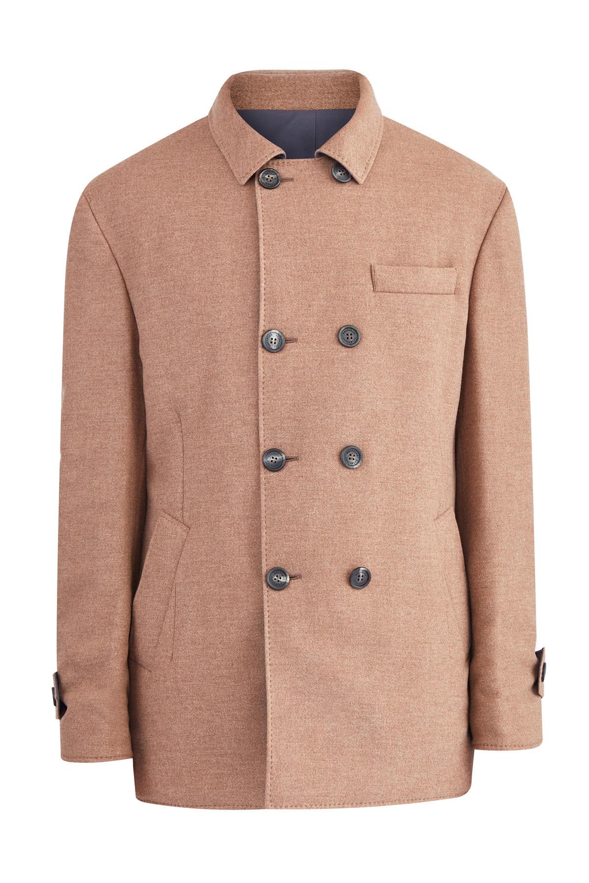 Двустороннее пальто из шерстяной фланели и нейлона Water Resist
